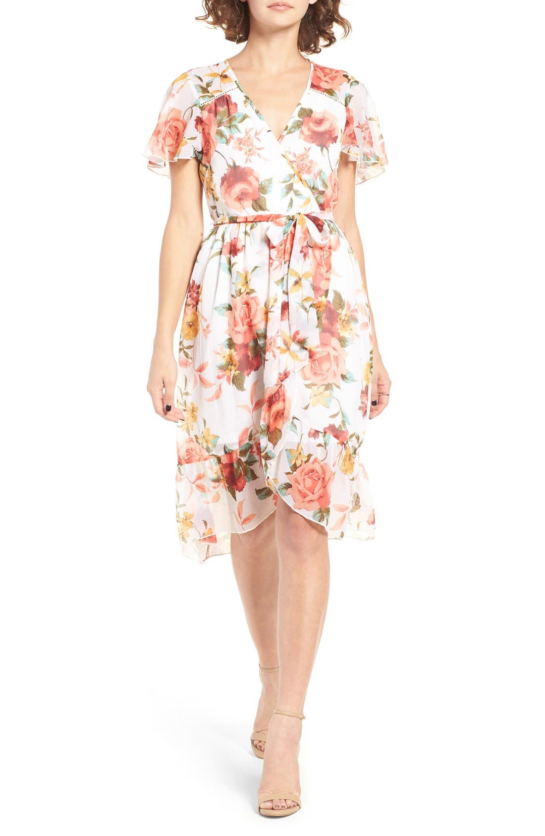 Main Image - Band of Gypsies Floral Wrap Dress