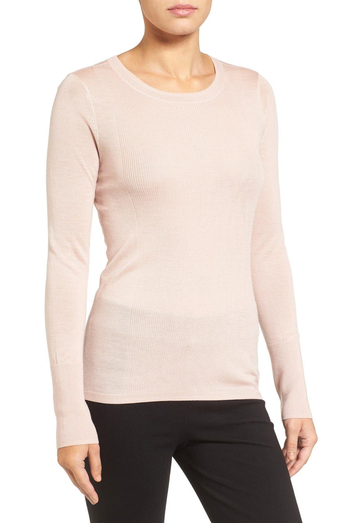 Main Image - Halogen® Rib Detail Lightweight Merino Wool Sweater (Regular & Petite)