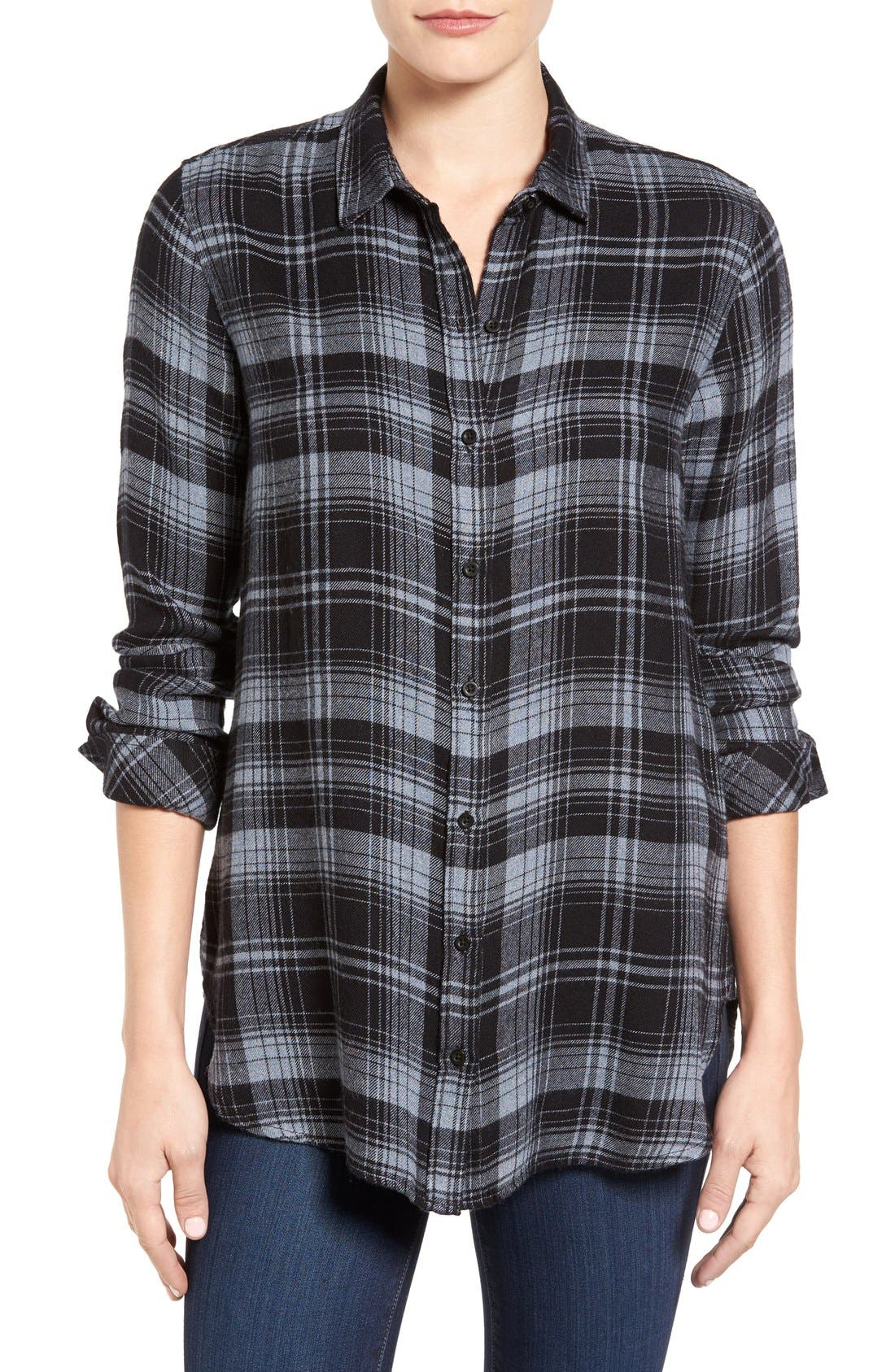 Alternate Image 1 Selected - Side Stitch Plaid Shirt