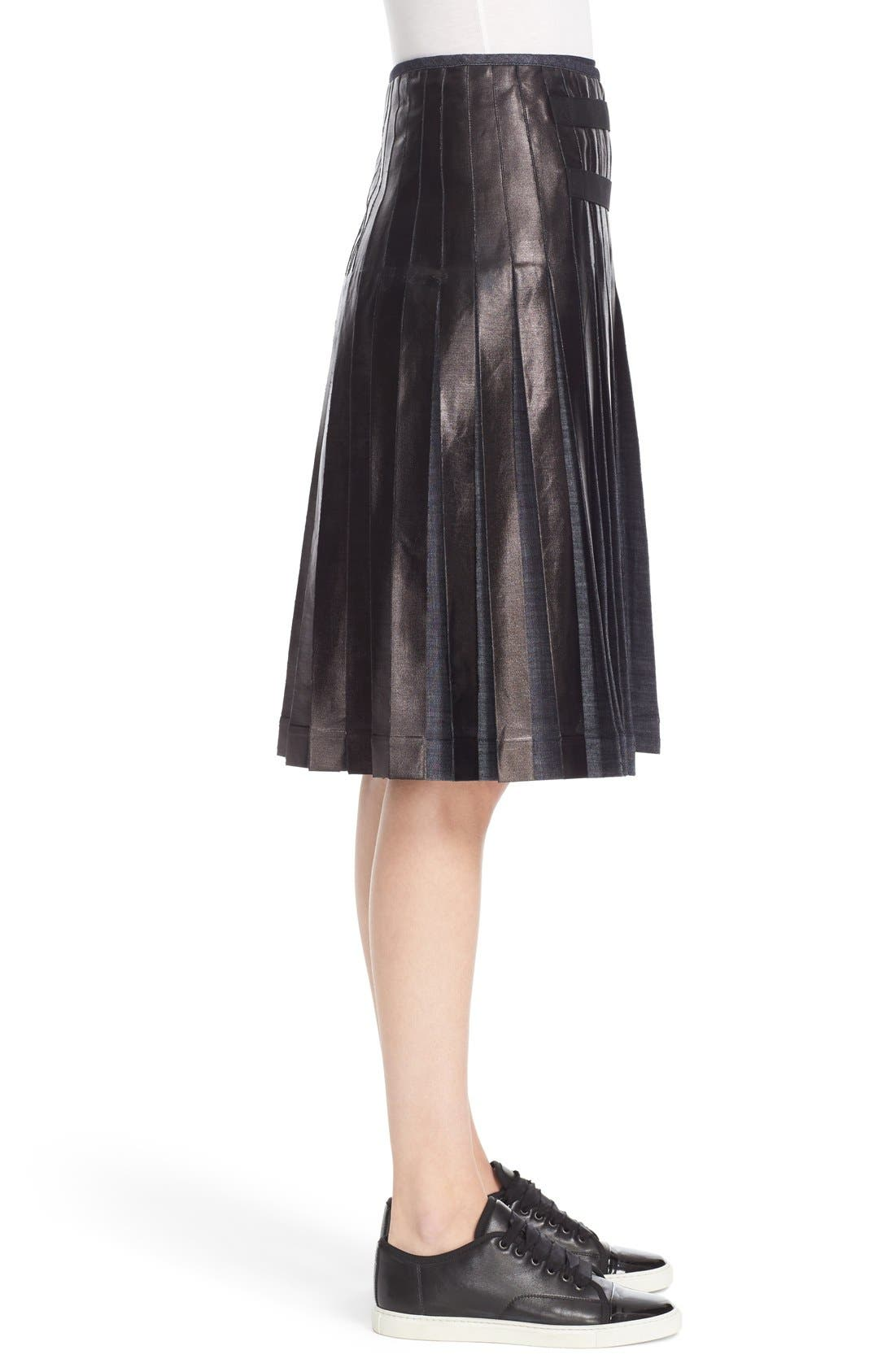 Alternate Image 5  - Tomas Maier Pleated Lacquered Denim Skirt