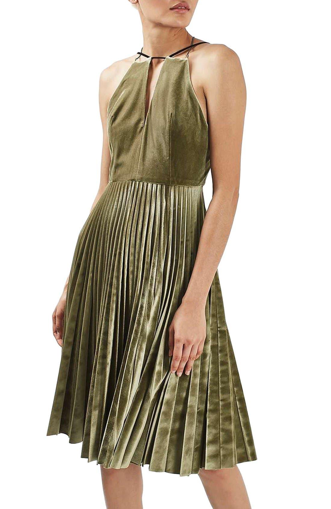 Main Image - Topshop Pleated Velvet Fit & Flare Dress