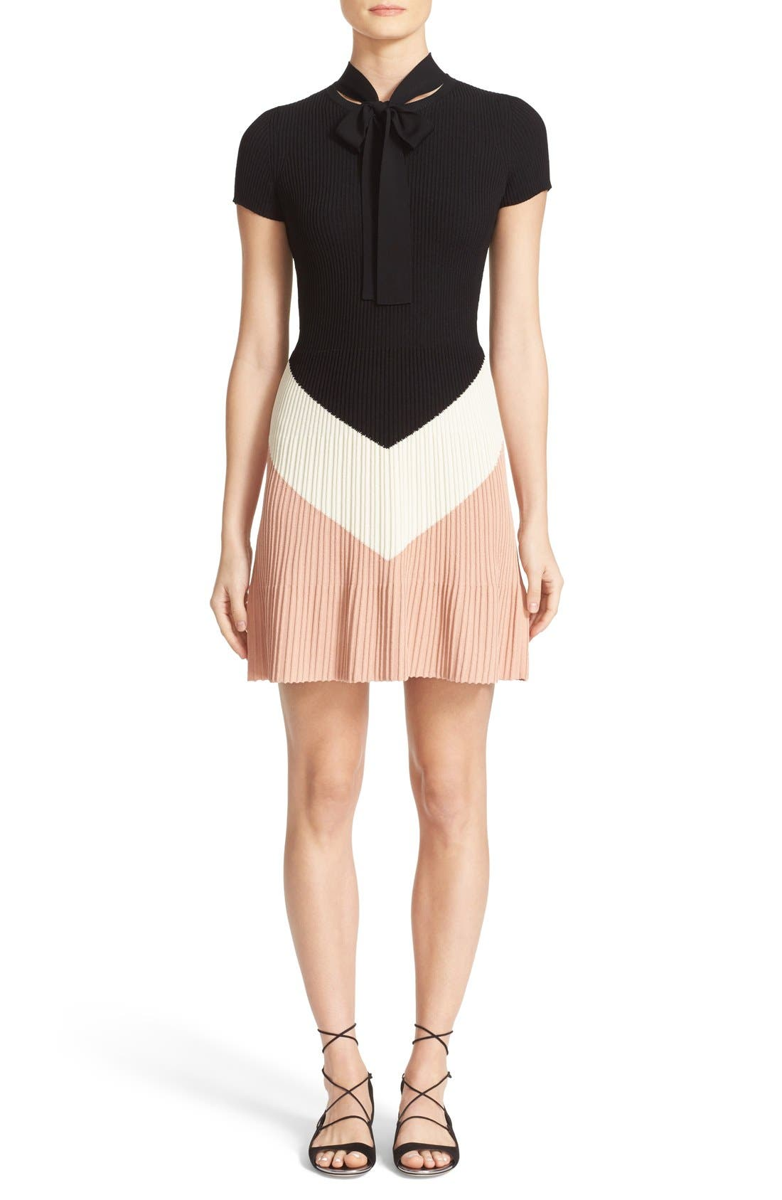 Alternate Image 1 Selected - RED Valentino Rib Knit Sweater Dress
