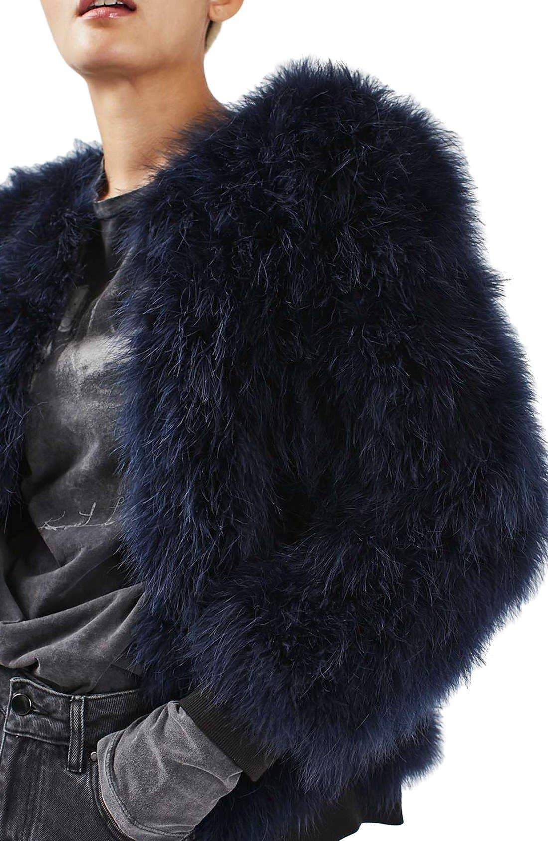 Alternate Image 5  - Topshop Ozzy Marabou Feather Coat