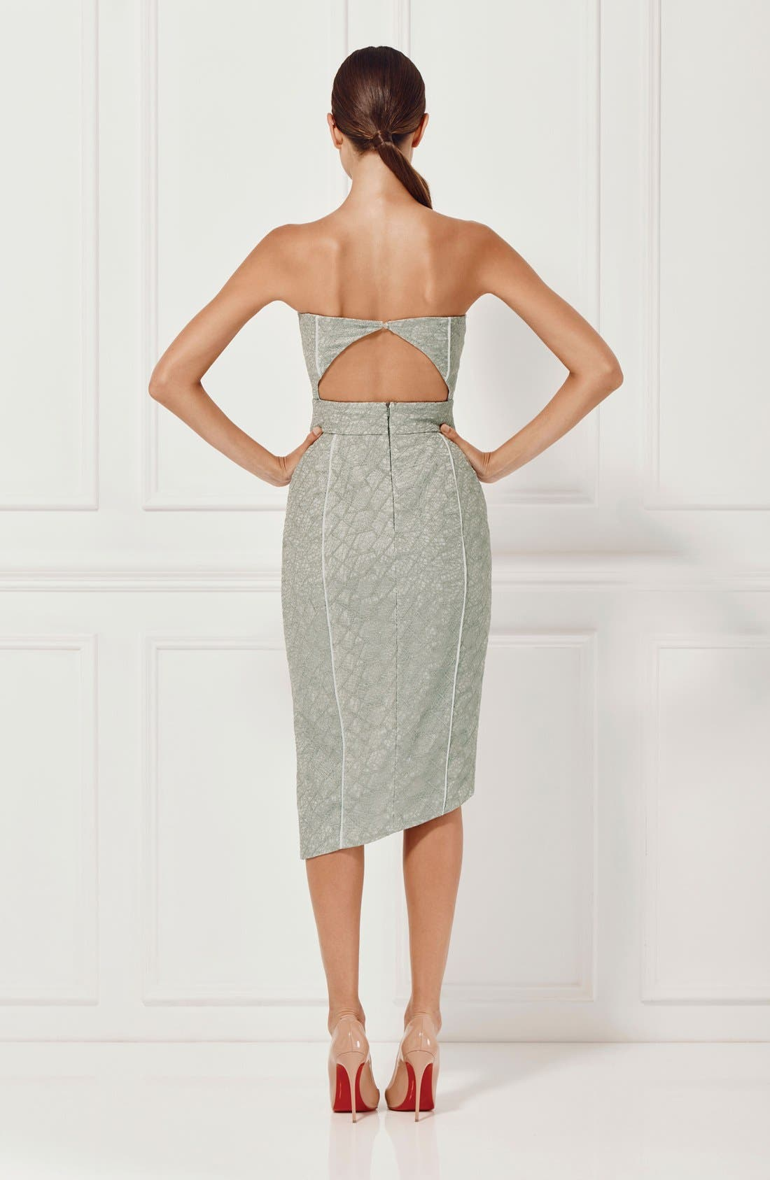 Alternate Image 8  - Misha Collection 'Olivia' Convertible Embroidered Asymmetrical Dress