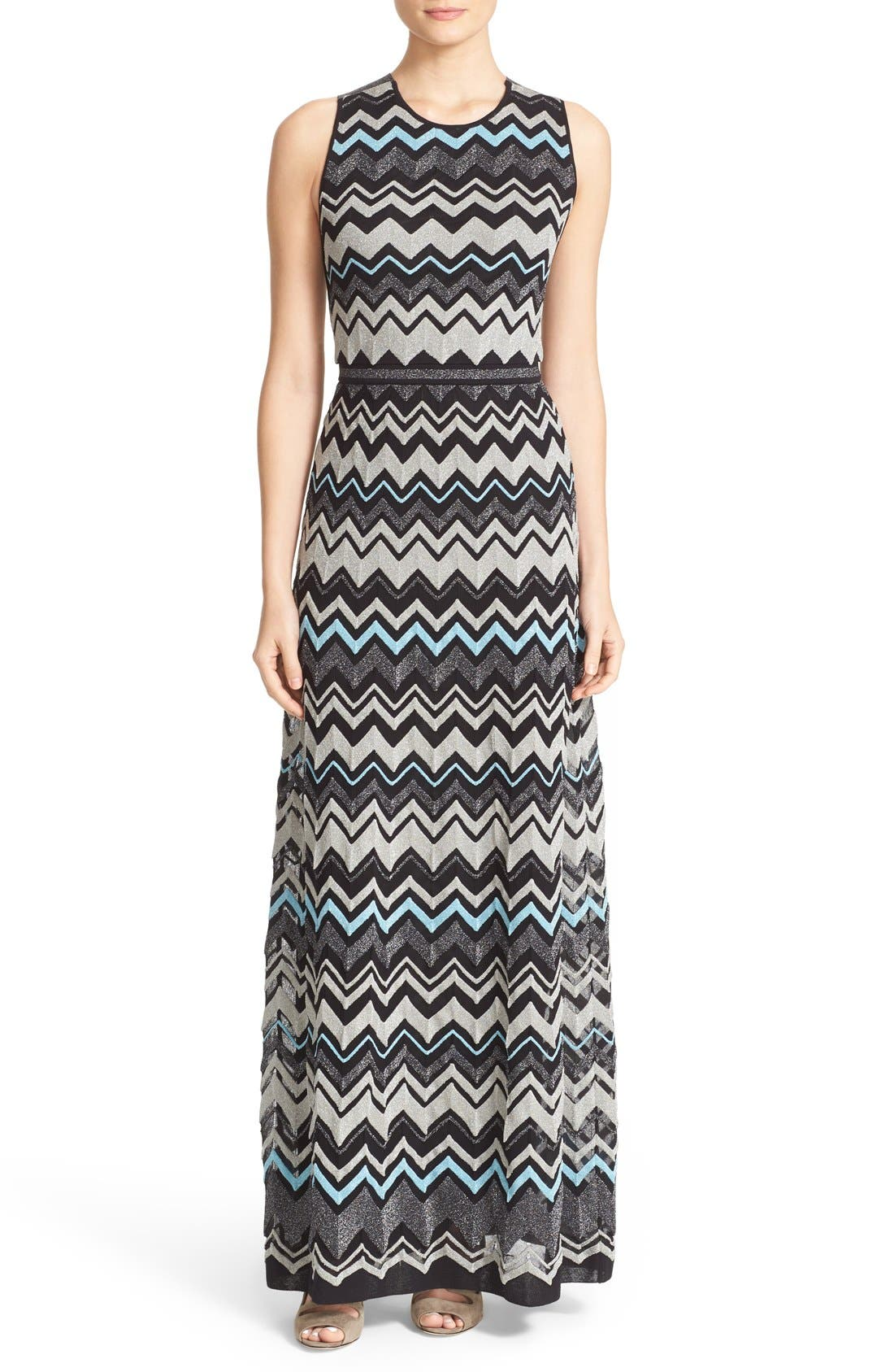 M MISSONI Metallic Zigzag Cross Back Maxi Dress