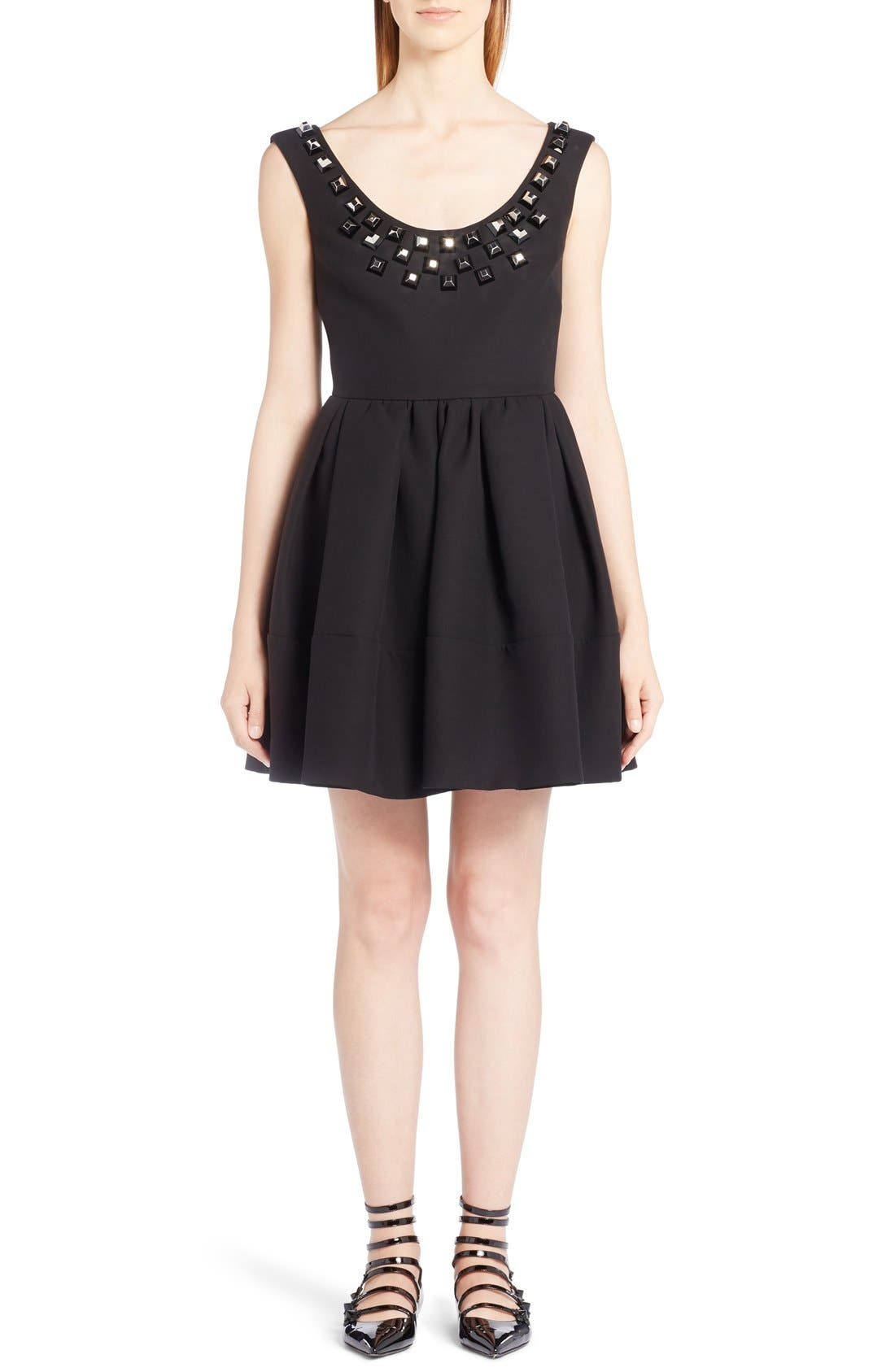 FENDI Studded Fit & Flare Dress