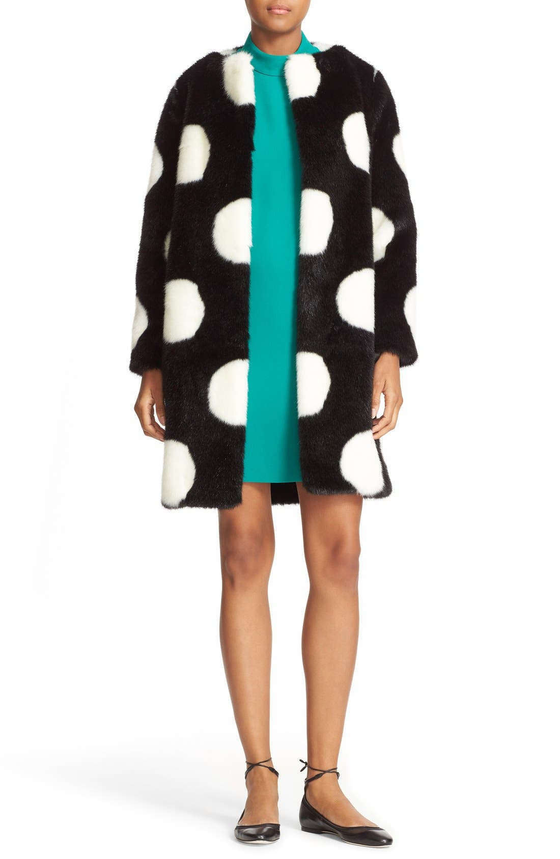 Alternate Image 2  - kate spade new york polka dot faux fur coat
