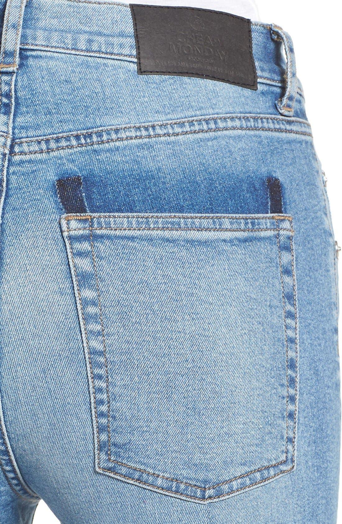 Alternate Image 4  - Cheap Monday Second Frayed Hem Skinny Jeans (Edit Blue)
