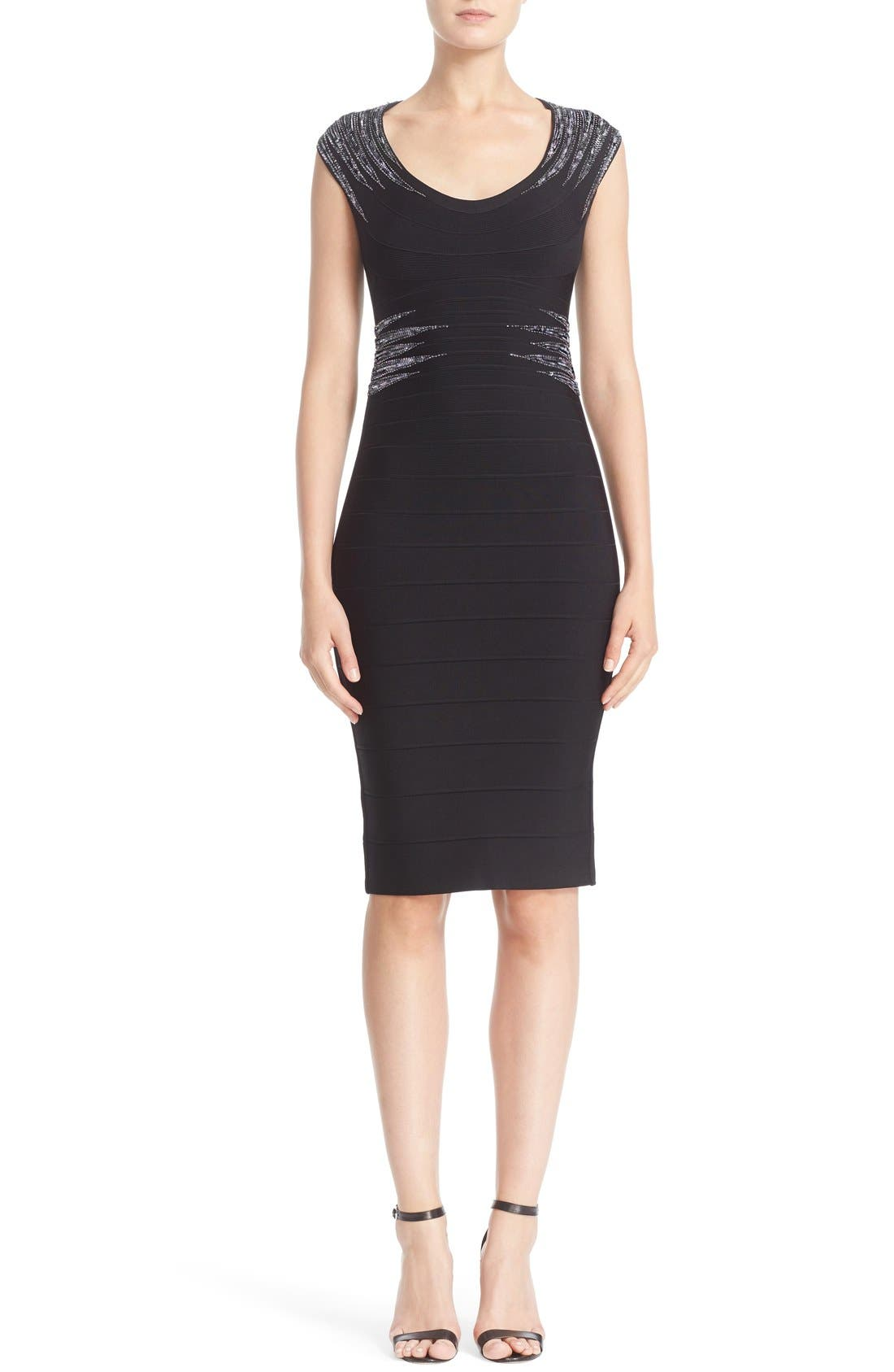 HERVE LEGER 'Janelle' Sequin Embellished Bandage Dress