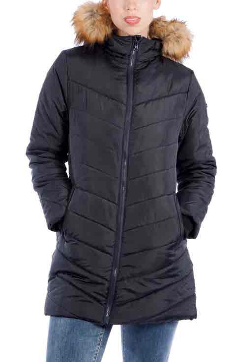Modern Eternity Faux Fur Convertible Puffer Maternity Jacket
