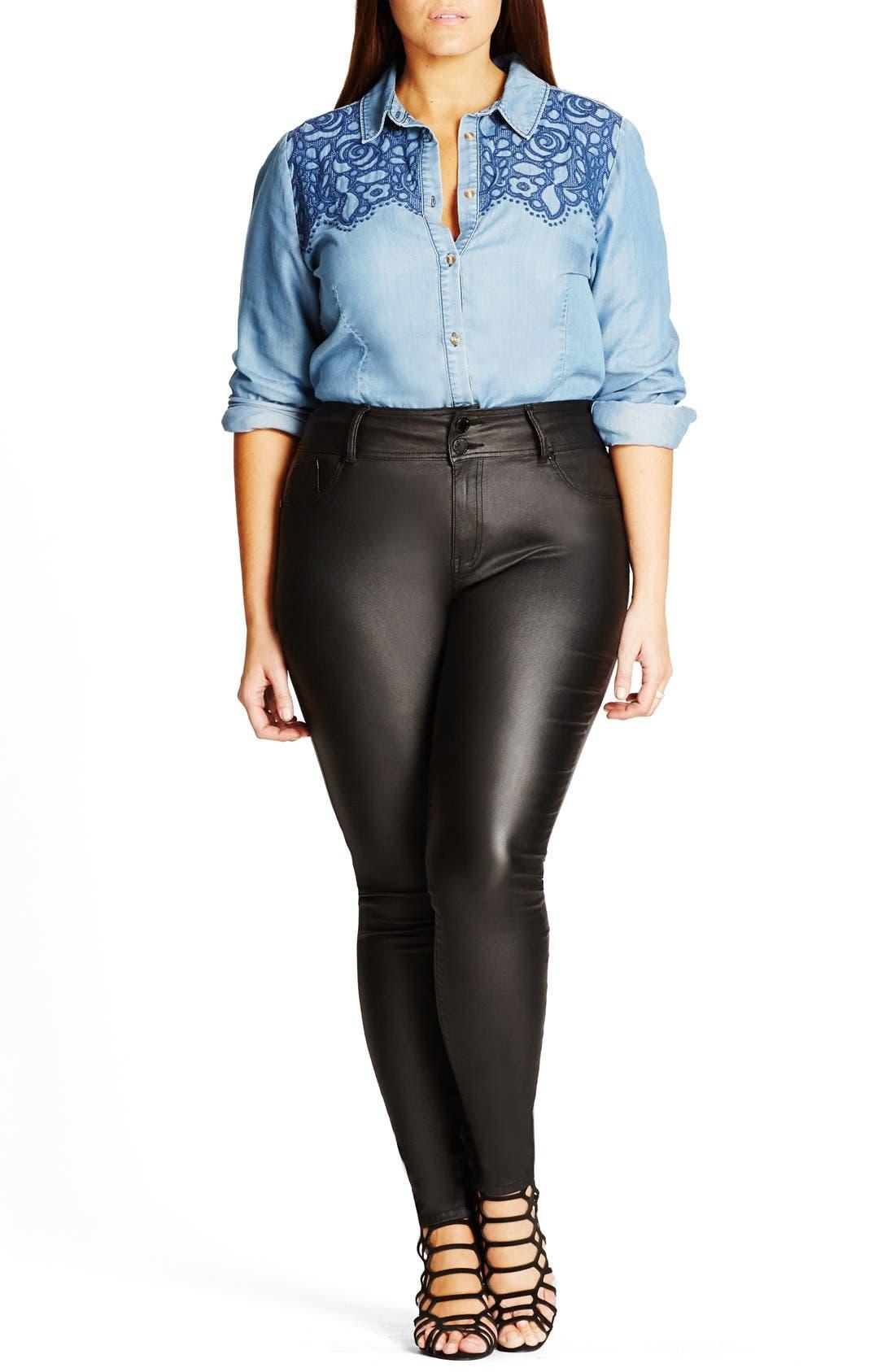 Main Image - City Chic Skylar Coated Super Stretch Skinny Jeans (Plus Size)