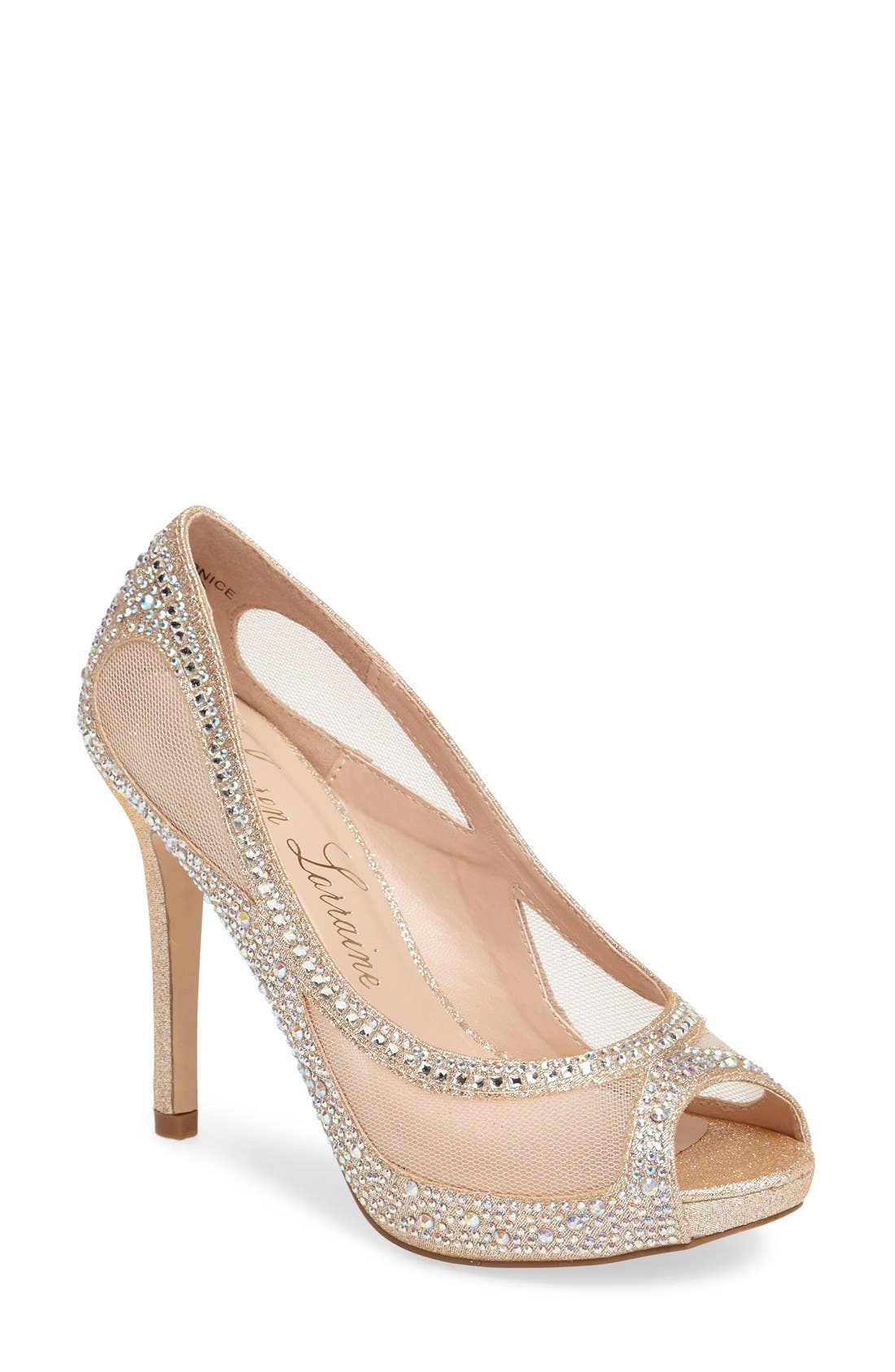 Lauren Lorraine Bernice Peep Toe Crystal Embellished Pump (Women)