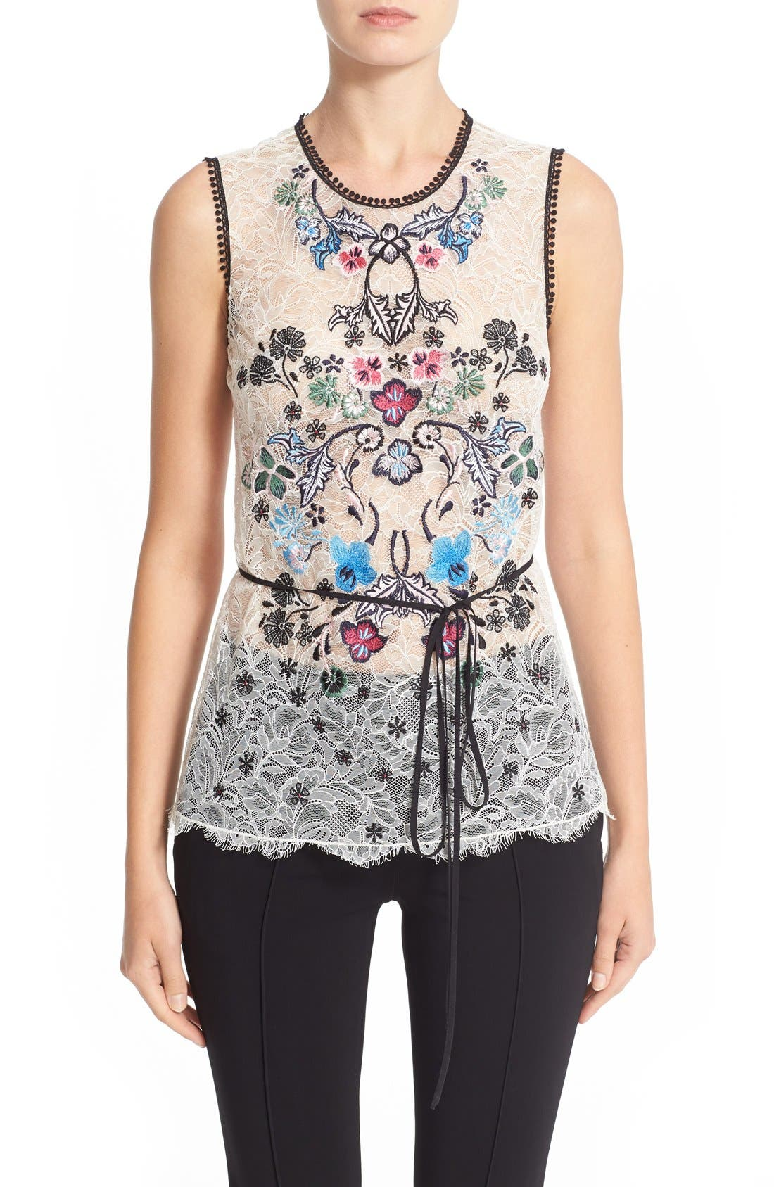 Alternate Image 1 Selected - Yigal Azrouël Floral Embroidered Lace Top