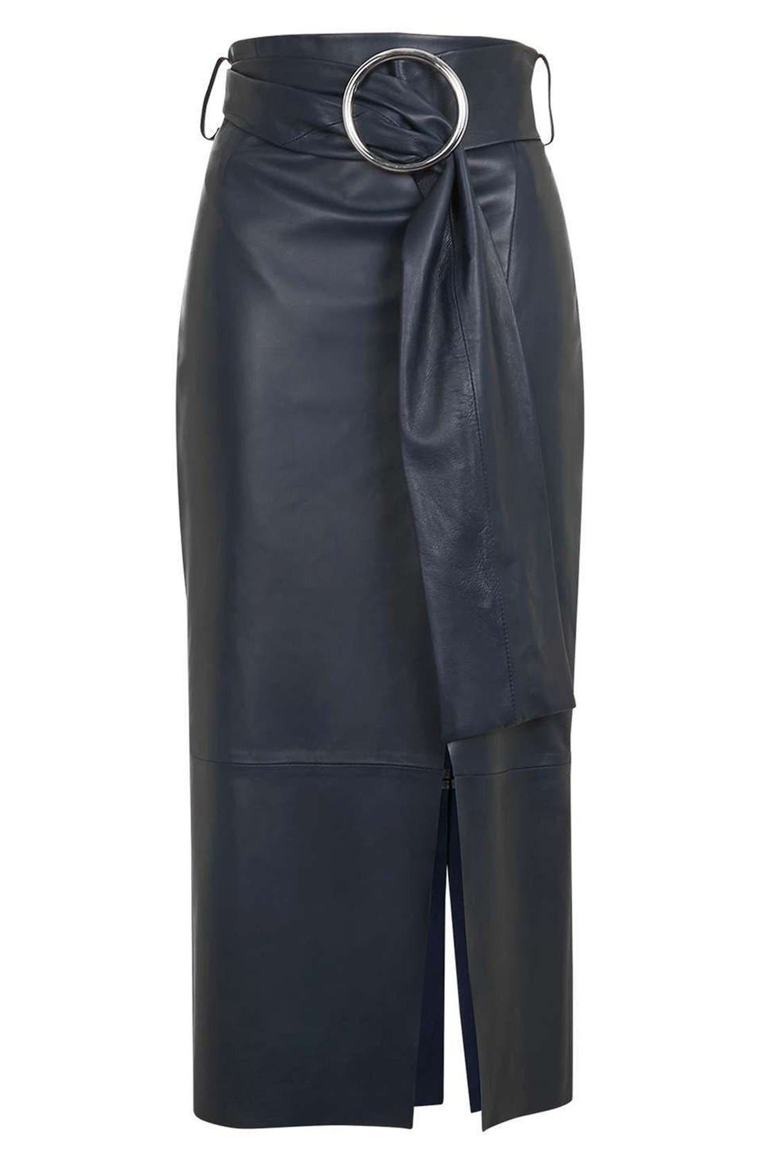 Main Image - Topshop Boutique Belted Leather Skirt