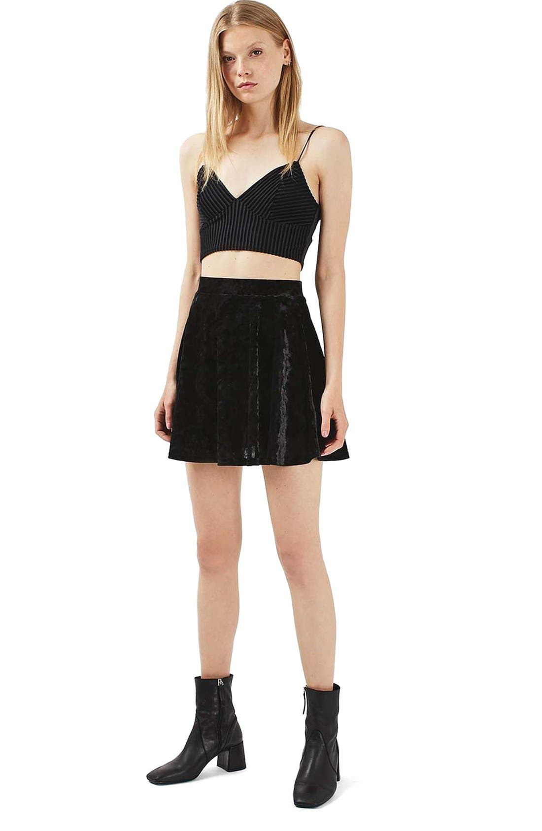 Alternate Image 2  - Topshop Velvet Skater Skirt