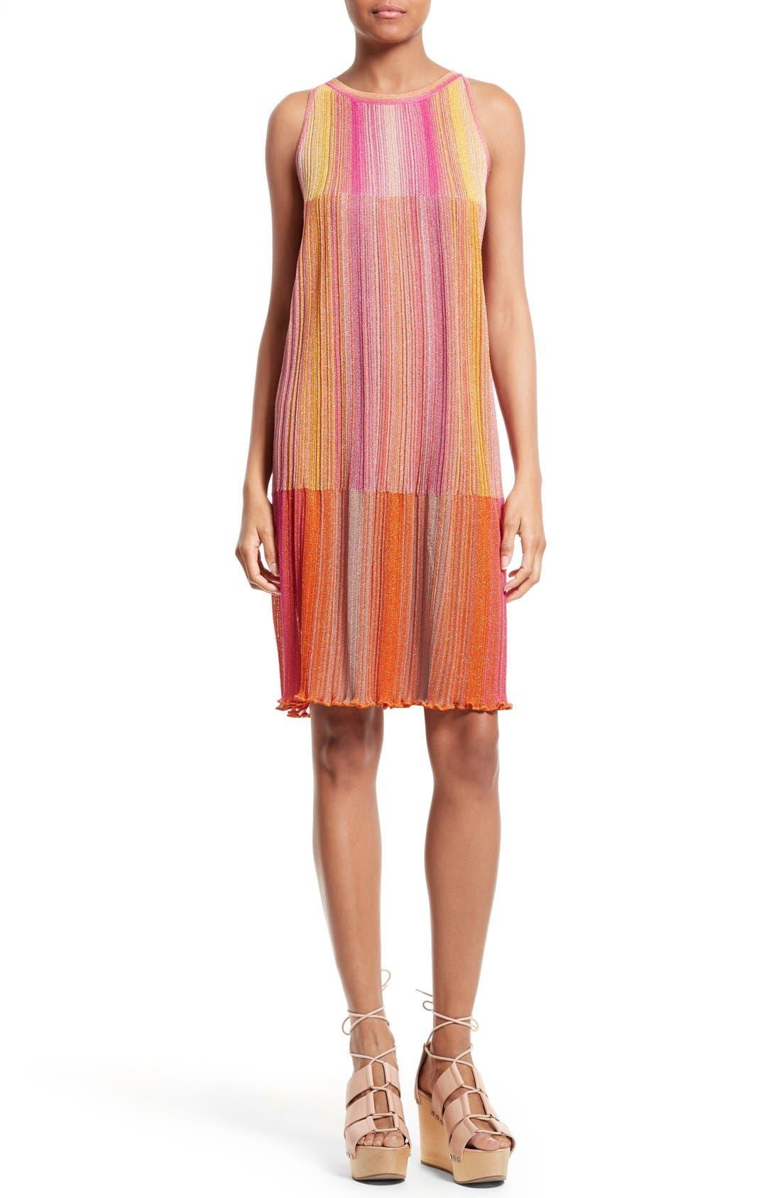 Main Image - M Missoni Plissé Metallic Knit Shift Dress