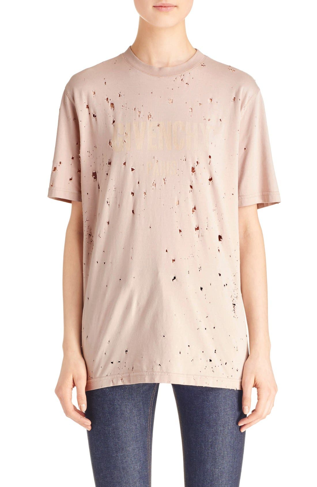 GIVENCHY Logo Print Destroyed Stretch Jersey Tee