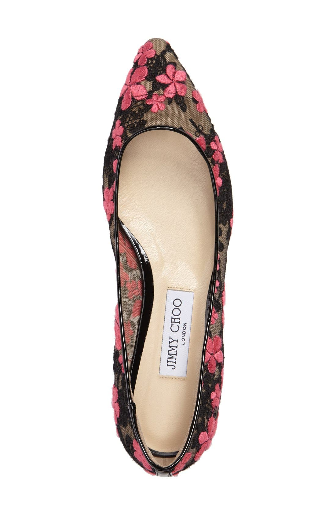 Alternate Image 3  - Jimmy Choo Romy Embroidered Floral Flat (Women)