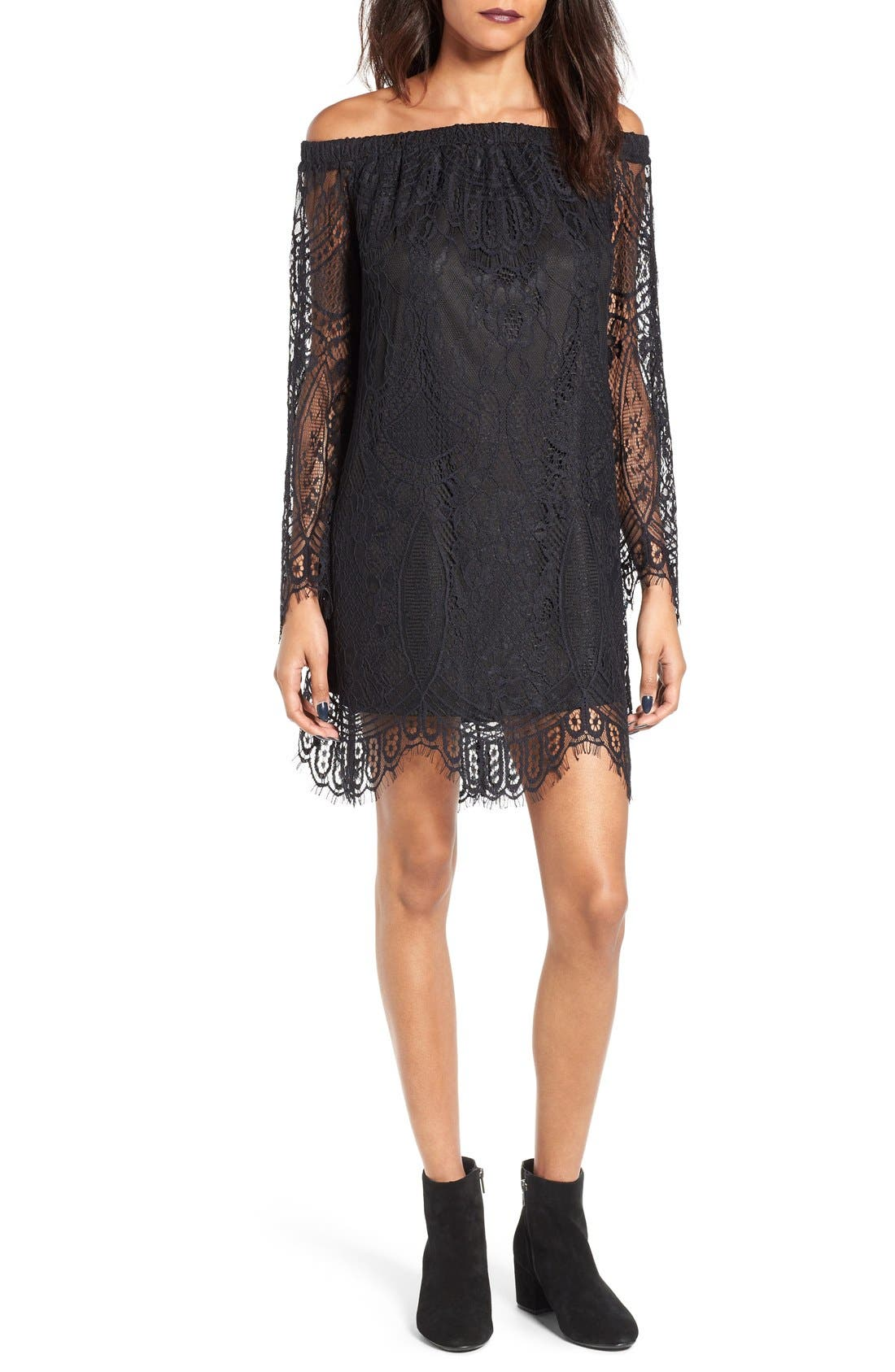 Love, Fire Off the Shoulder Lace Shift Dress