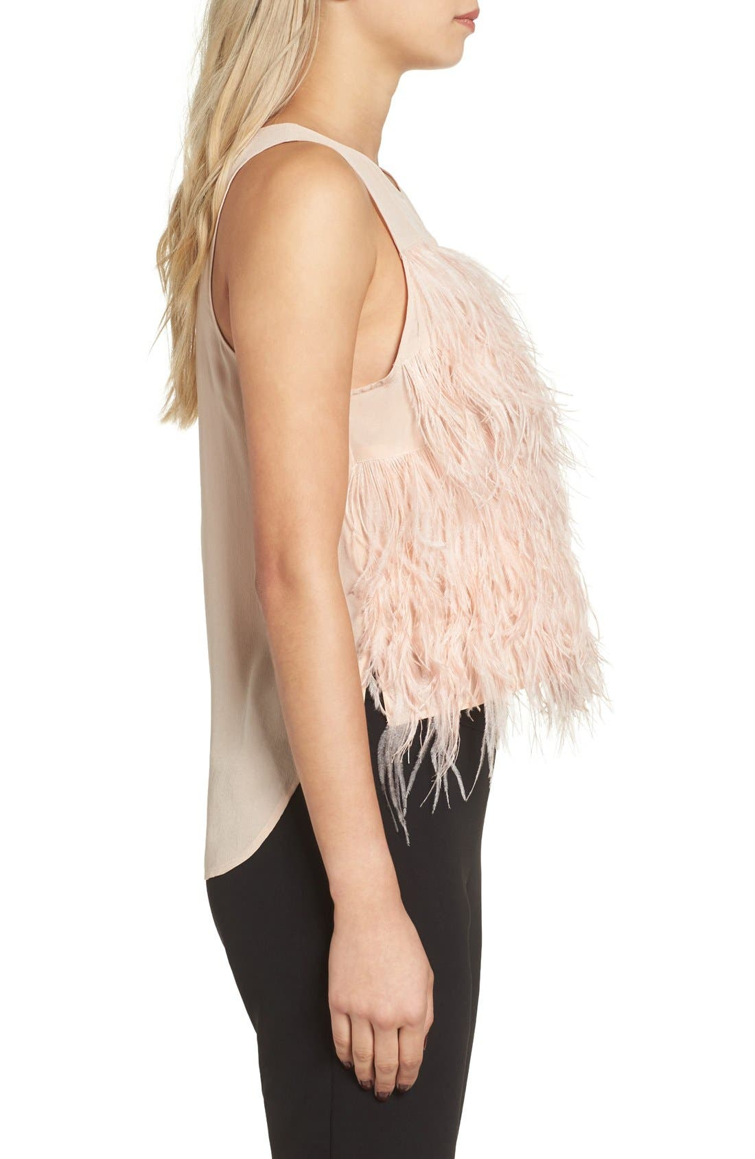 Alternate Image 3  - Olivia Palermo + Chelsea28 Genuine Ostrich Feather Tank