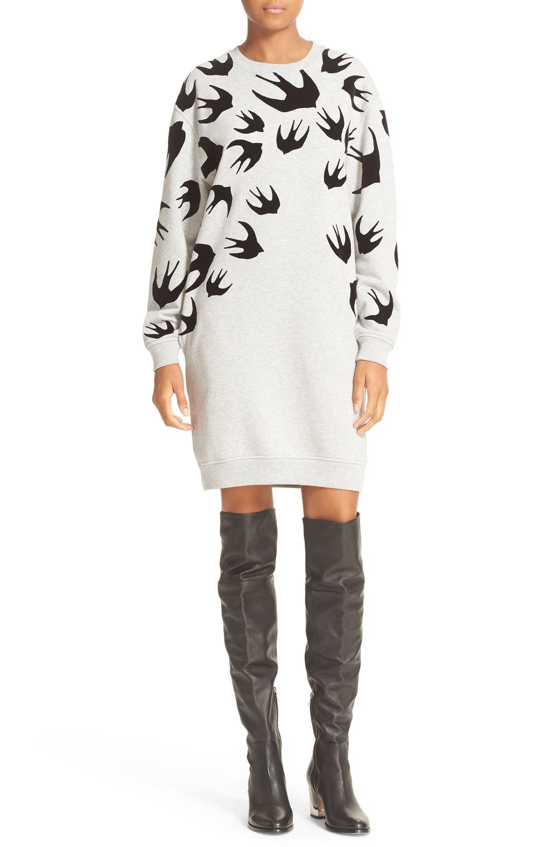 McQ Alexander McQueen Flocked Swallow Classic Sweatshirt Dress