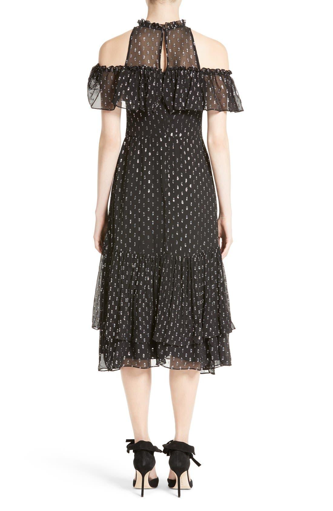 Alternate Image 2  - Rebecca Taylor Metallic Clip Midi Dress