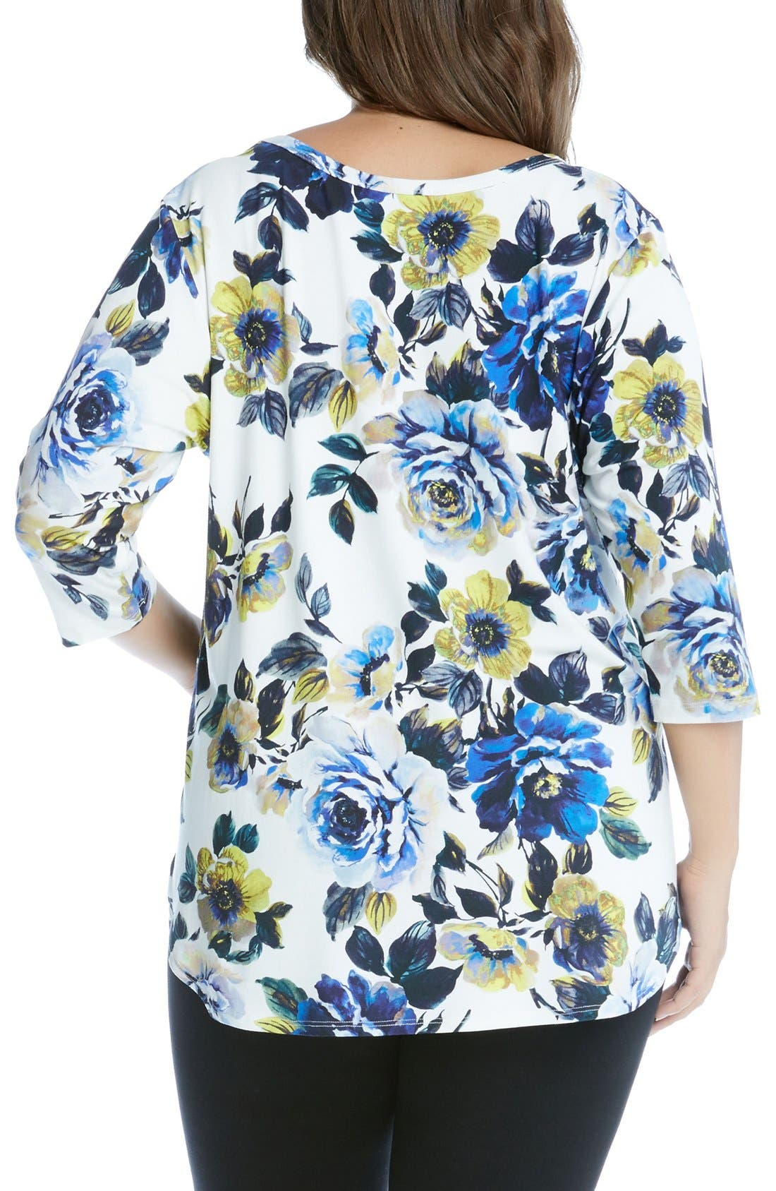 Alternate Image 2  - Karen Kane Flower Print Tee (Plus Size)