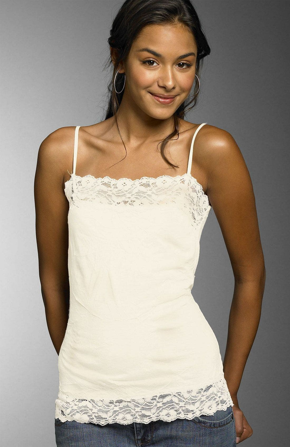 Lily White Lace Trim Camisole Nordstrom