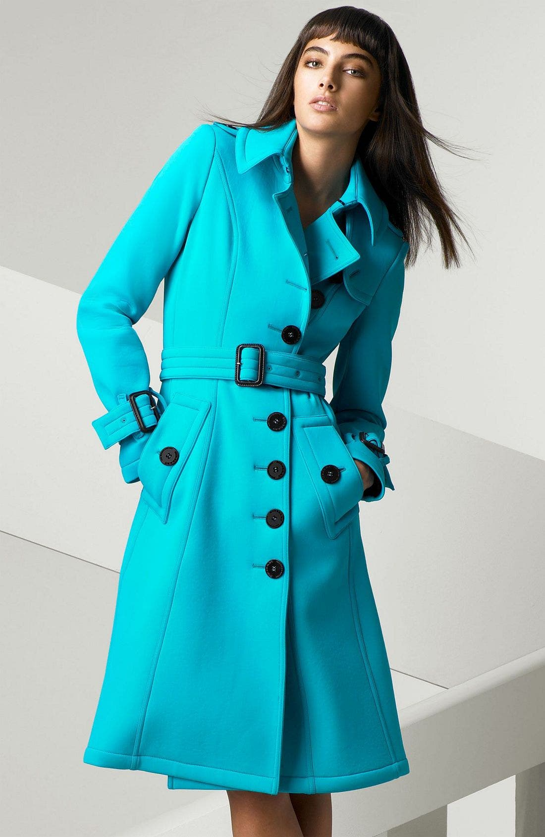 Alternate Image 1 Selected - Burberry Prorsum Scuba Trench Coat with Belt