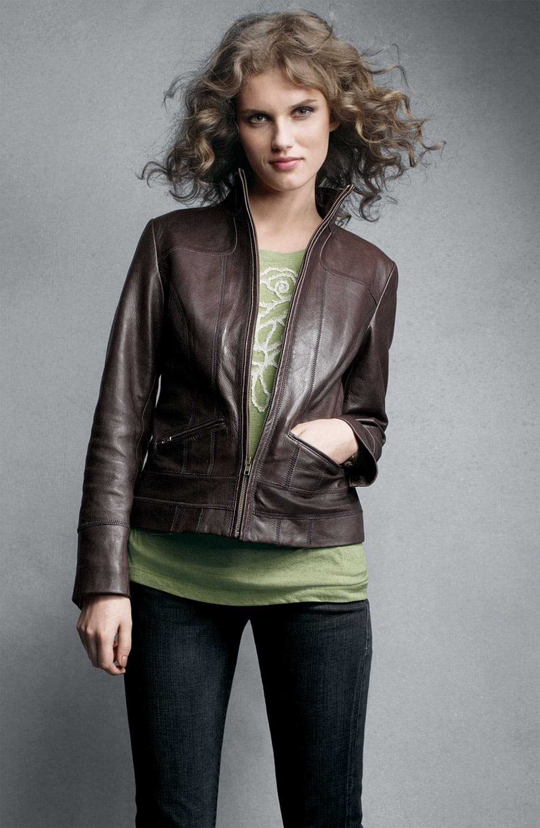 Alternate Image 5  - Caslon® Distressed Leather Jacket