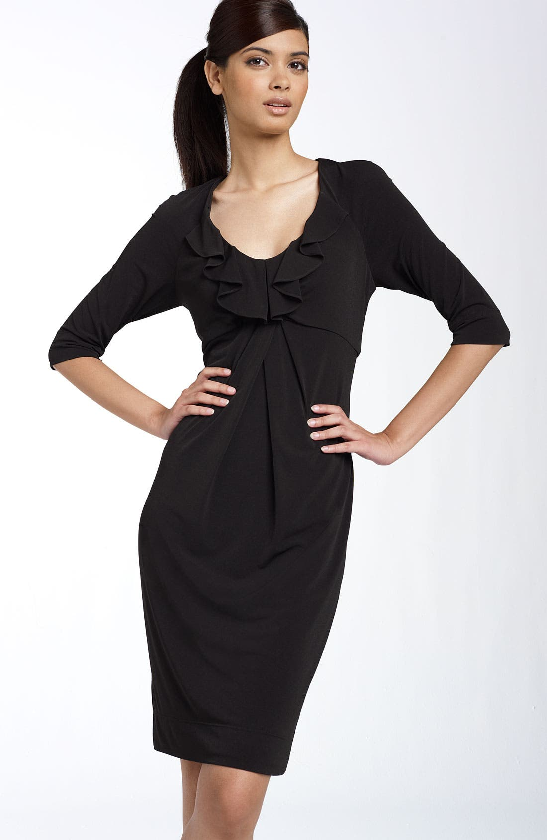 Main Image - Donna Ricco Ruffle Matte Jersey Dress (Regular & Petite)