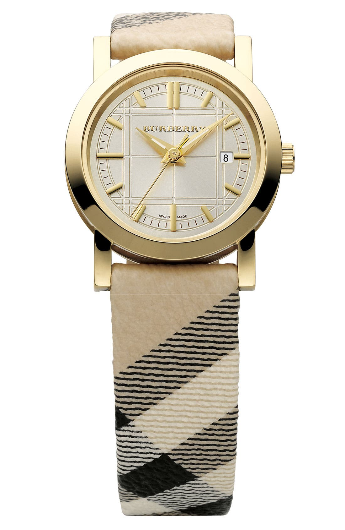 Alternate Image 1 Selected - Burberry Small Check Strap Watch