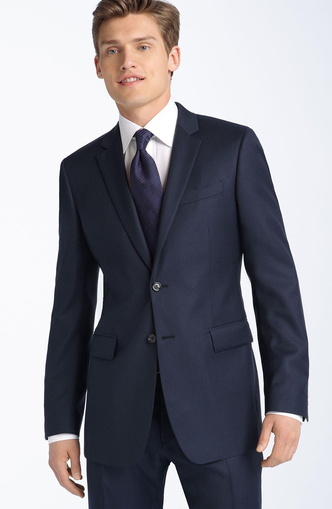 Main Image - Burberry London Grey Stripe Virgin Wool Suit