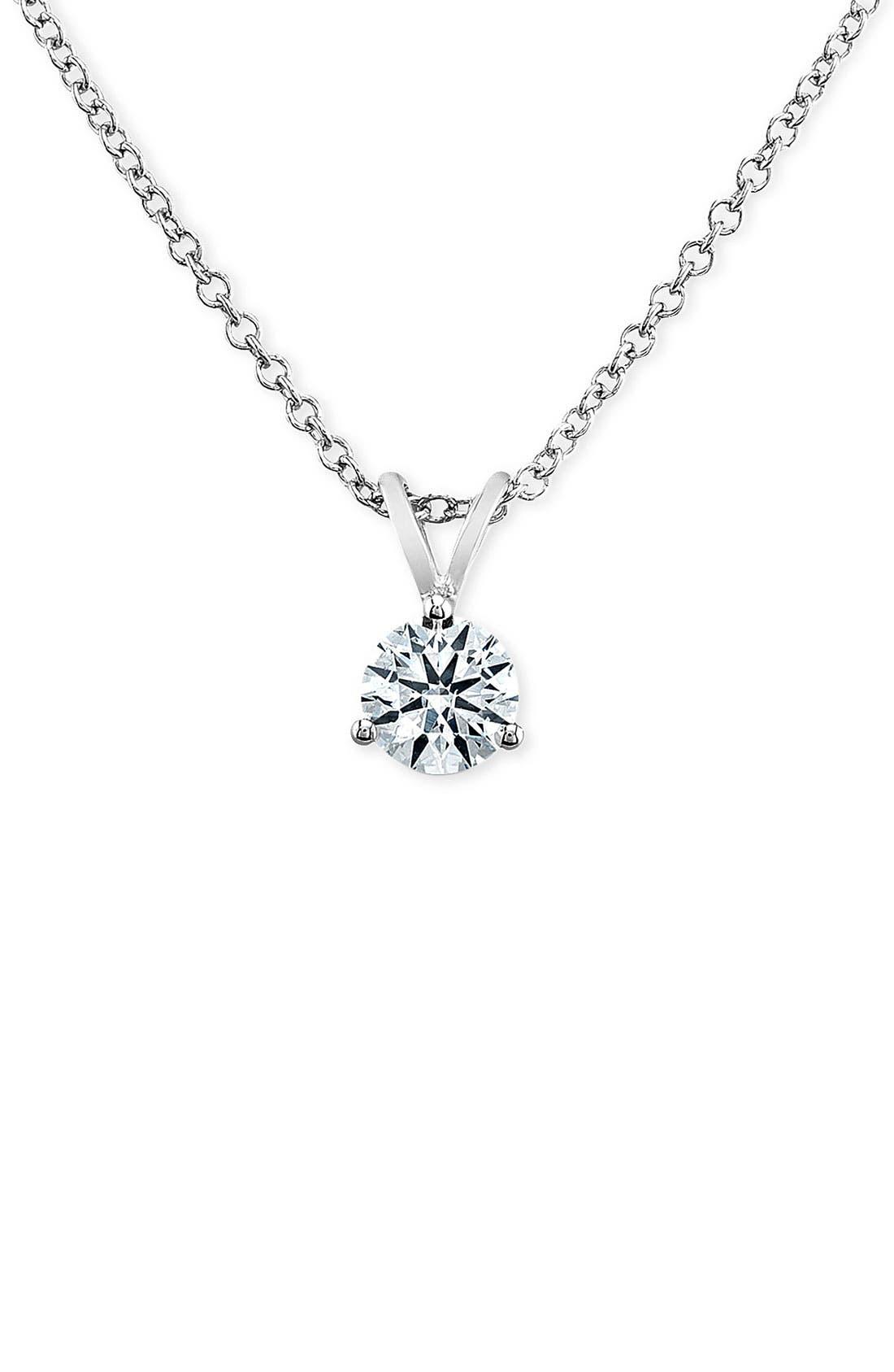 Main Image - Bony Levy 'Solitaire' Diamond Pendant Necklace (Nordstrom Exclusive)