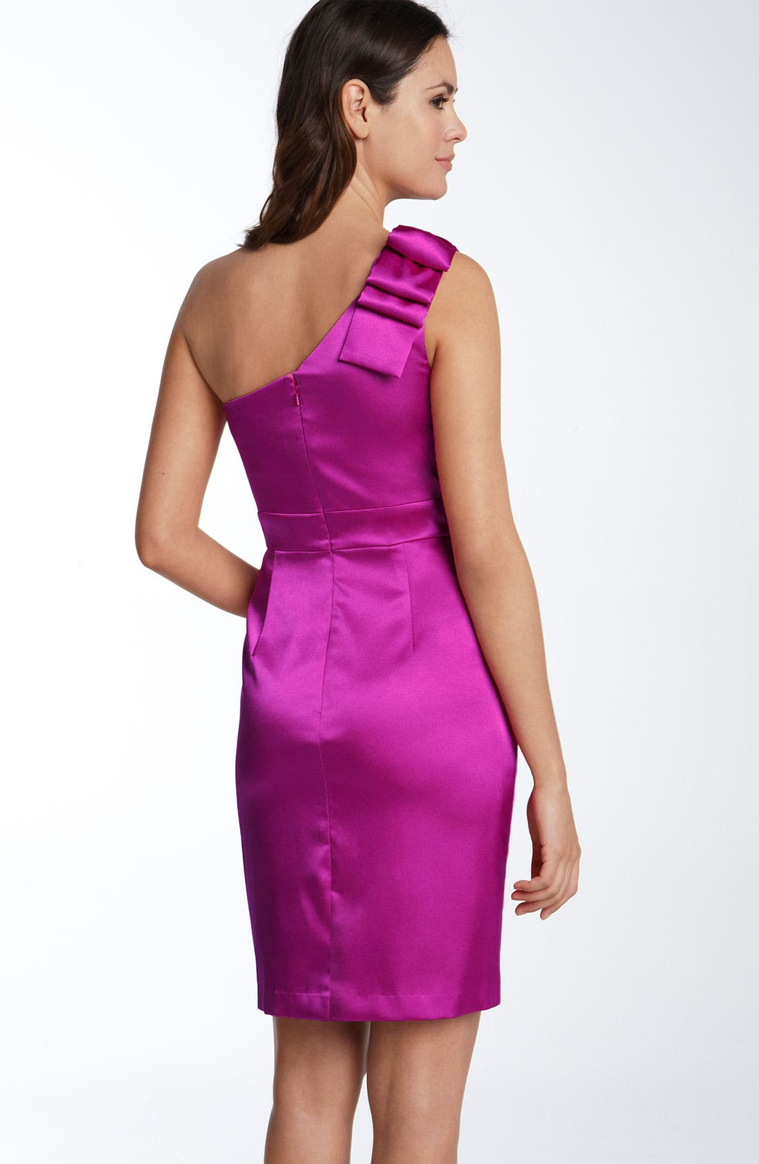 Alternate Image 2  - Adrianna Papell One Shoulder Stretch Satin Dress