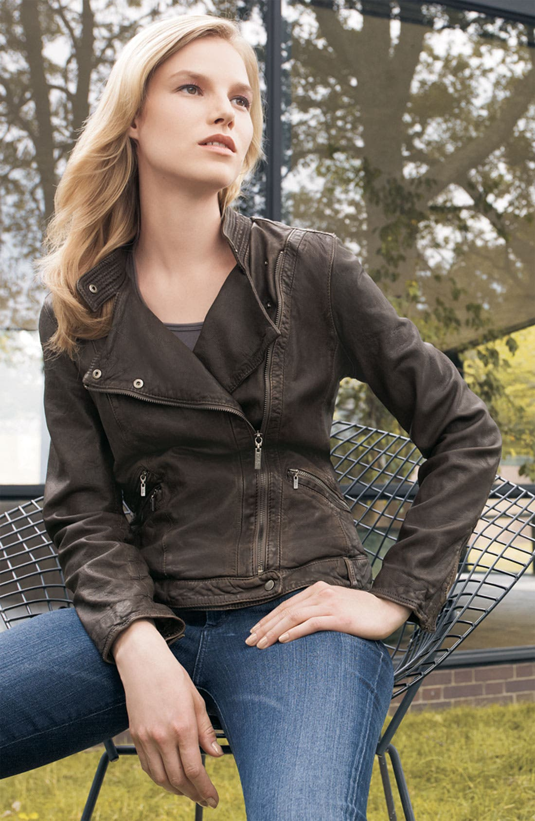 Alternate Image 2  - Cole Haan Washed Lambskin Leather Motorcycle Jacket
