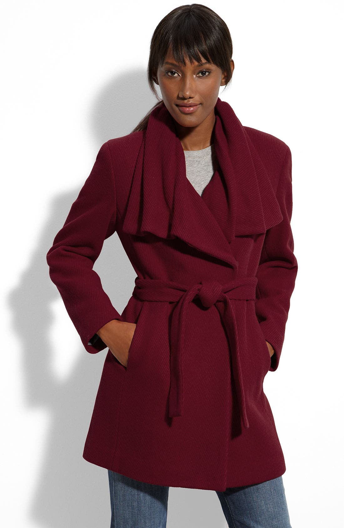 Alternate Image 1 Selected - Calvin Klein Diagonal Twill Wrap Topper