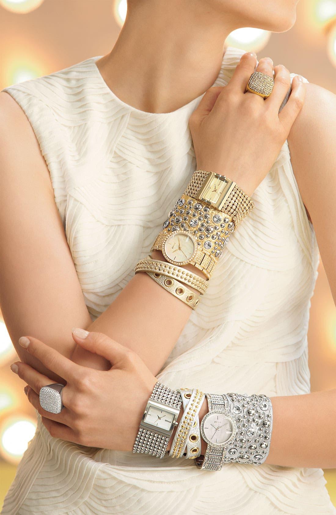 Alternate Image 3  - DKNY Mesh Crystal Bracelet Watch