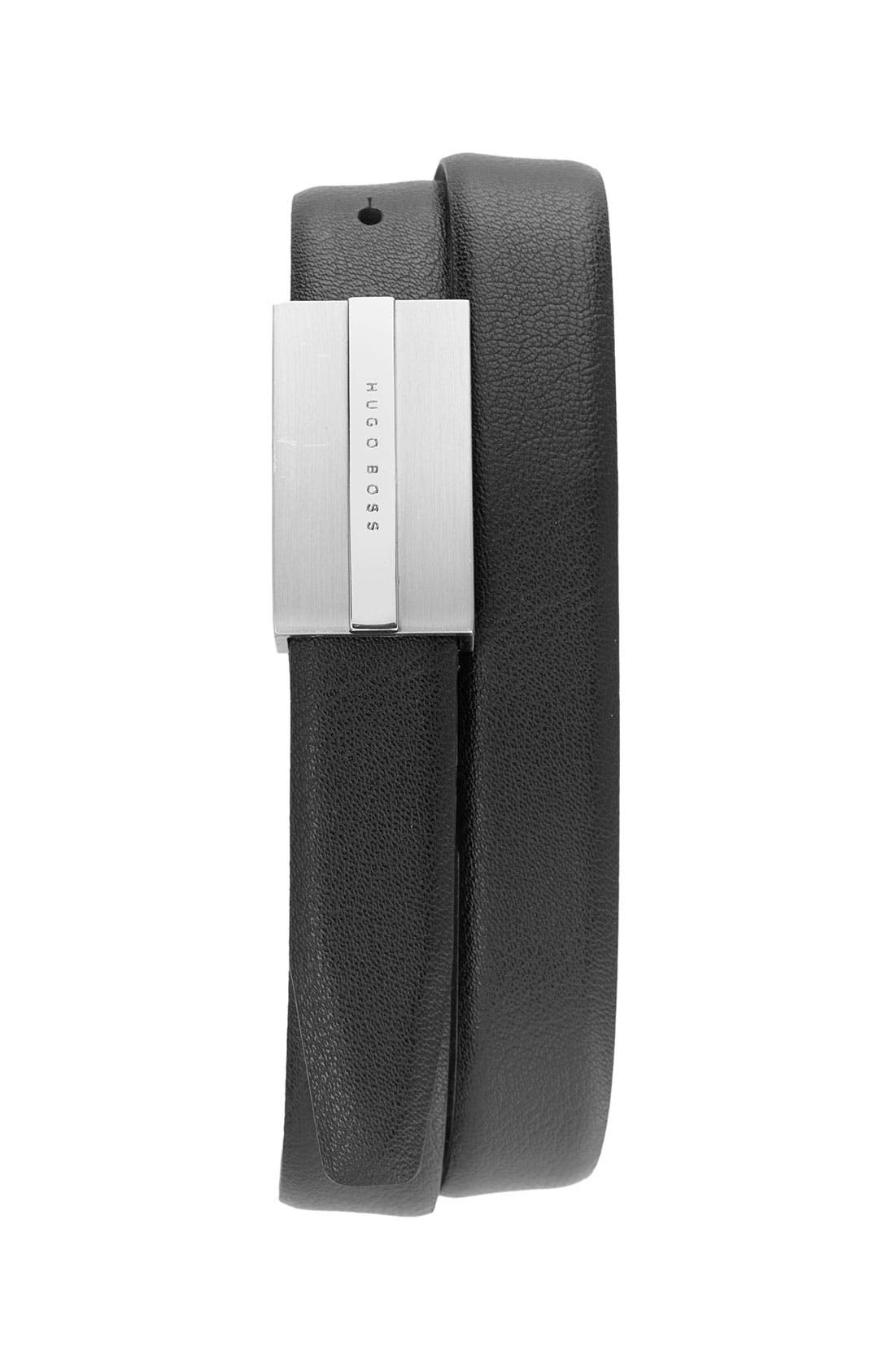 Alternate Image 1 Selected - BOSS Black Leather Belt