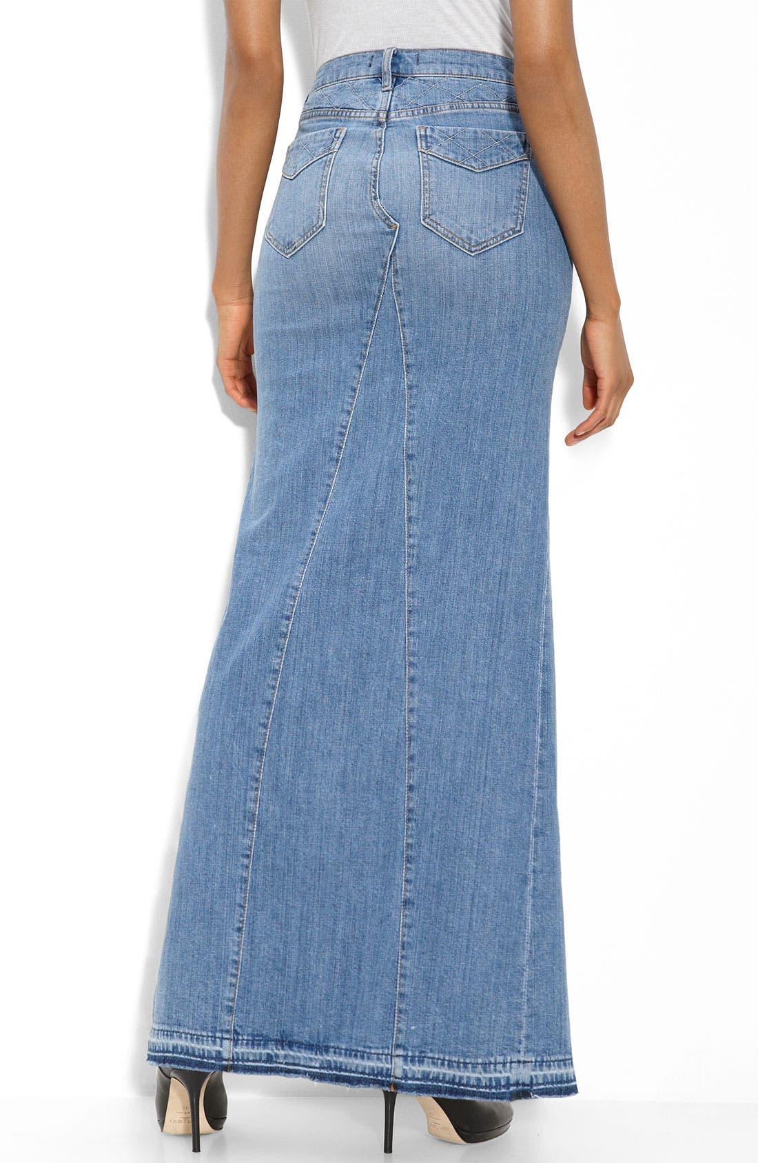 Alternate Image 2  - Genetic 'The Chloe' Long Stretch Denim Skirt