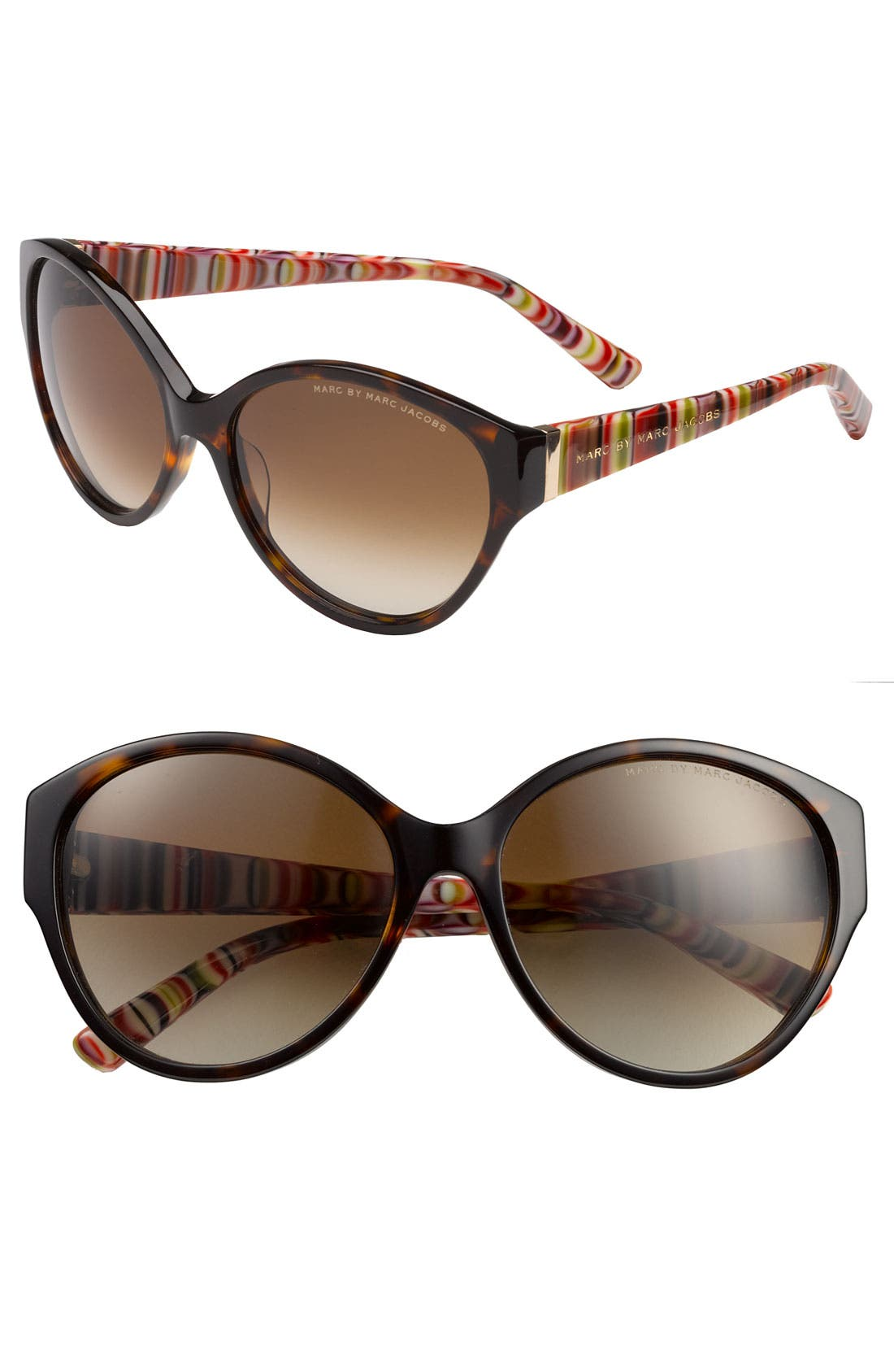 Main Image - MARC BY MARC JACOBS Stripe Cat's Eye Sunglasses (Nordstrom Exclusive)