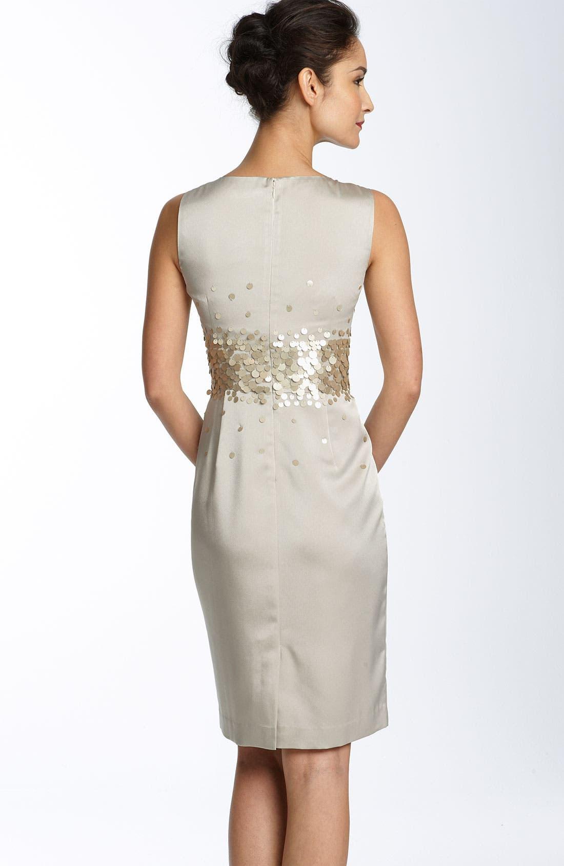 Alternate Image 2  - Calvin Klein Paillette Stretch Satin Sheath Dress