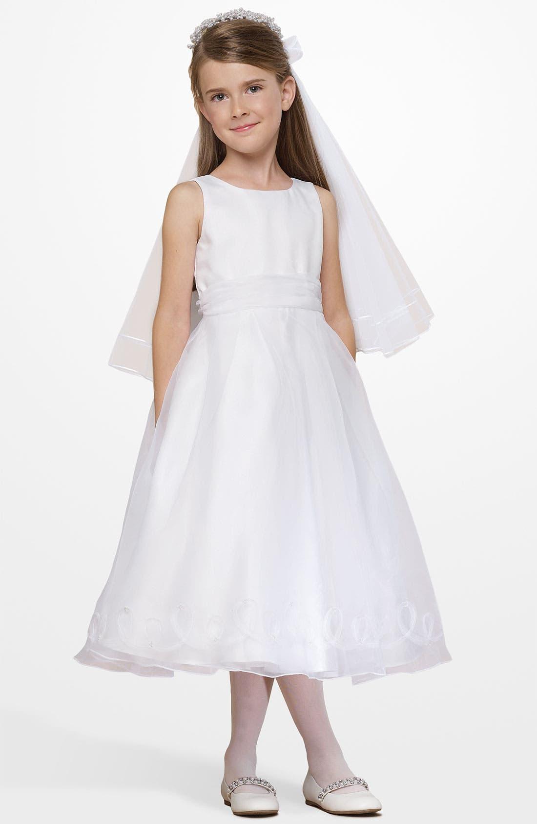 Main Image - Us Angels Embellished Satin & Organza Dress (Little Girls)