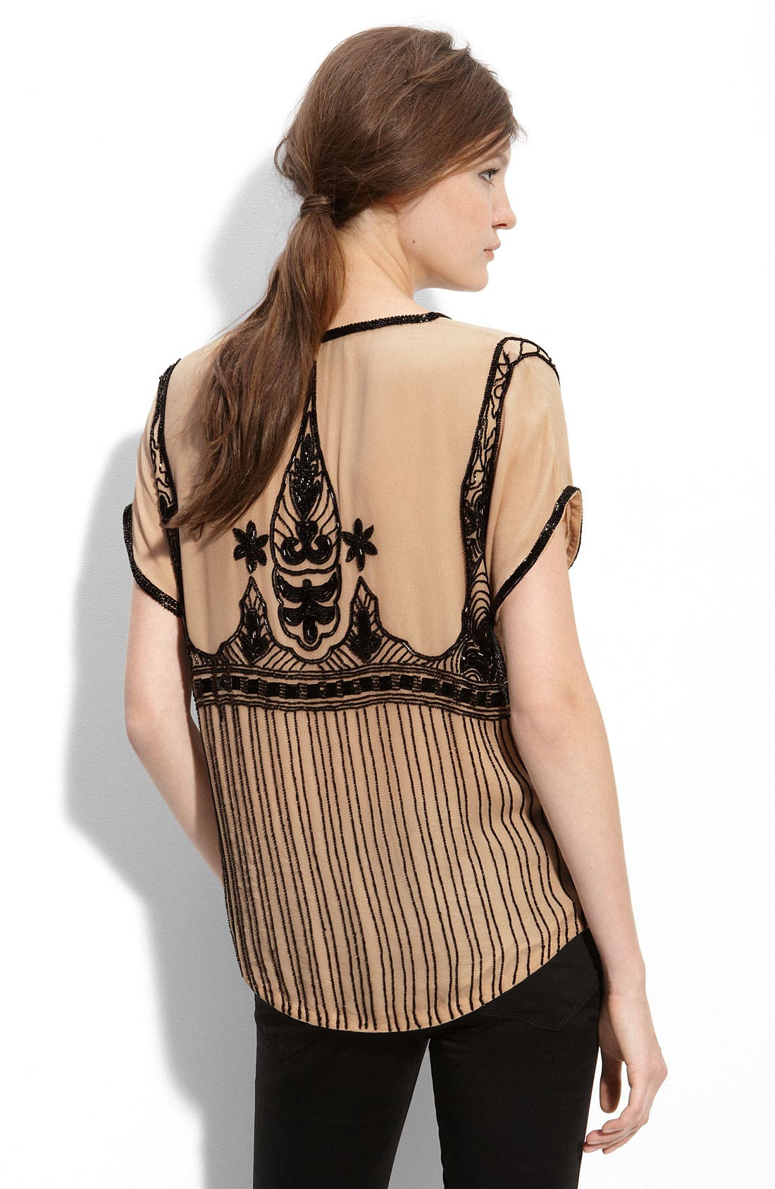 Alternate Image 2  - Beyond Vintage Beaded Silk Blouse