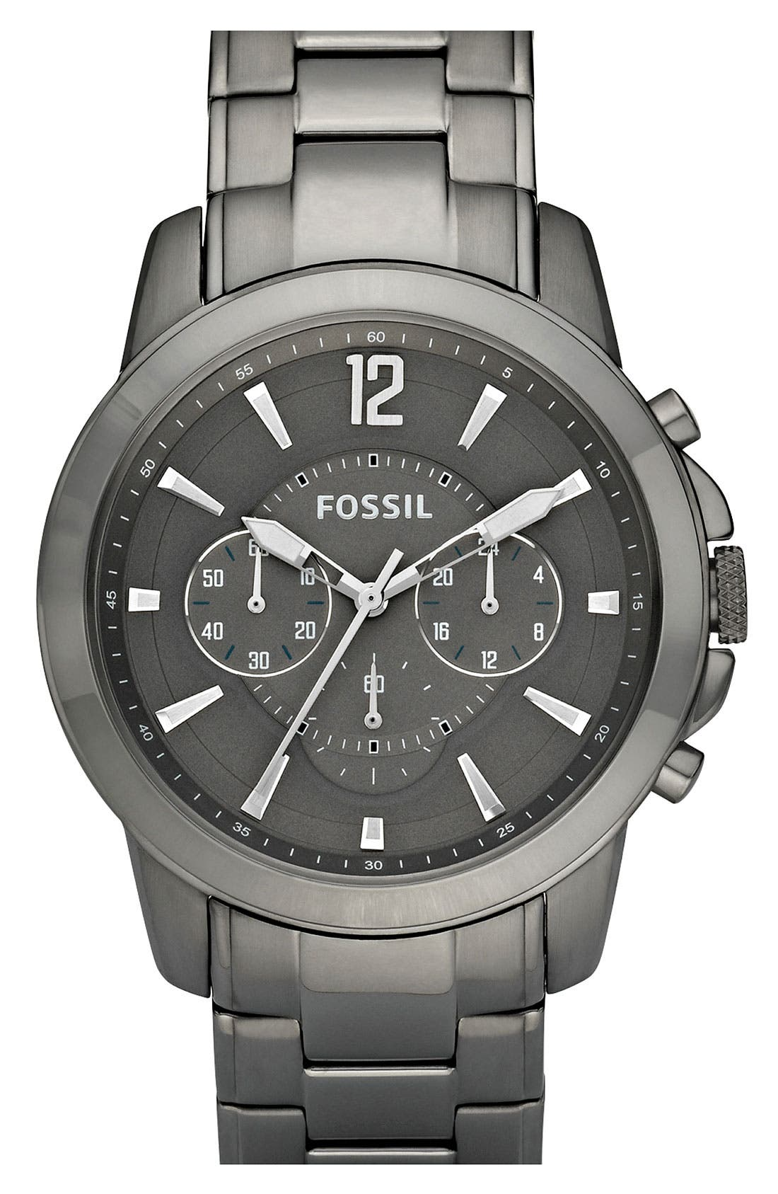 Alternate Image 1 Selected - Fossil Gunmetal Chronograph Bracelet Watch, 44mm