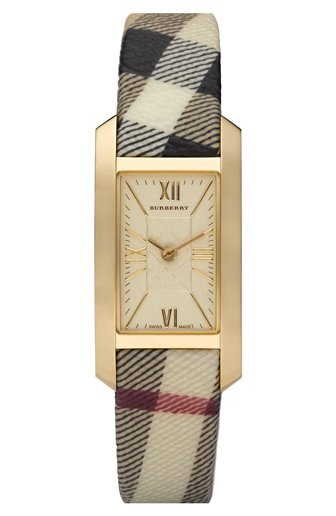 Alternate Image 1 Selected - Burberry Ladies' Gold Case Check Strap Watch