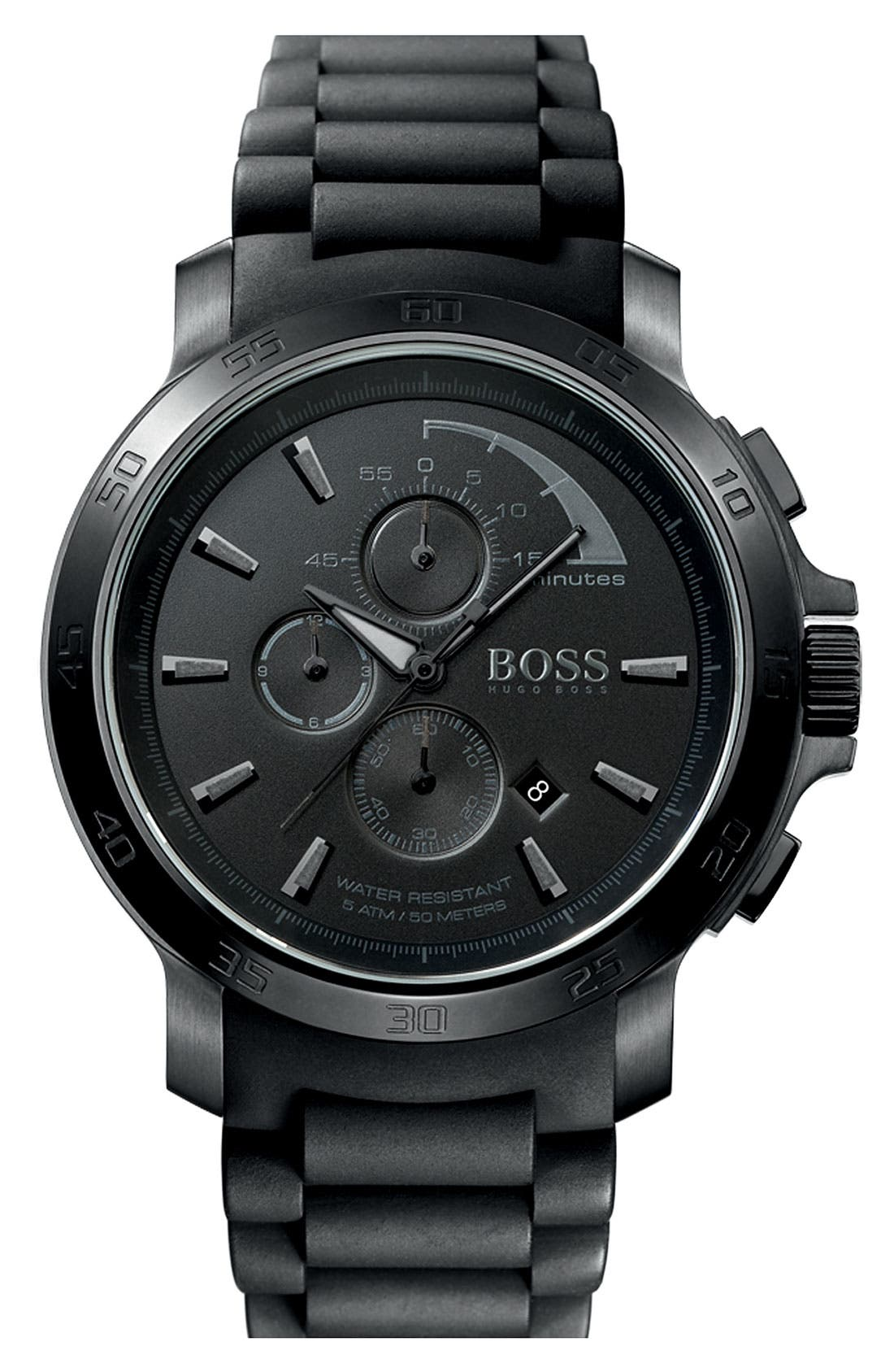 Alternate Image 1 Selected - BOSS HUGO BOSS Silicone Strap Watch, 50mm
