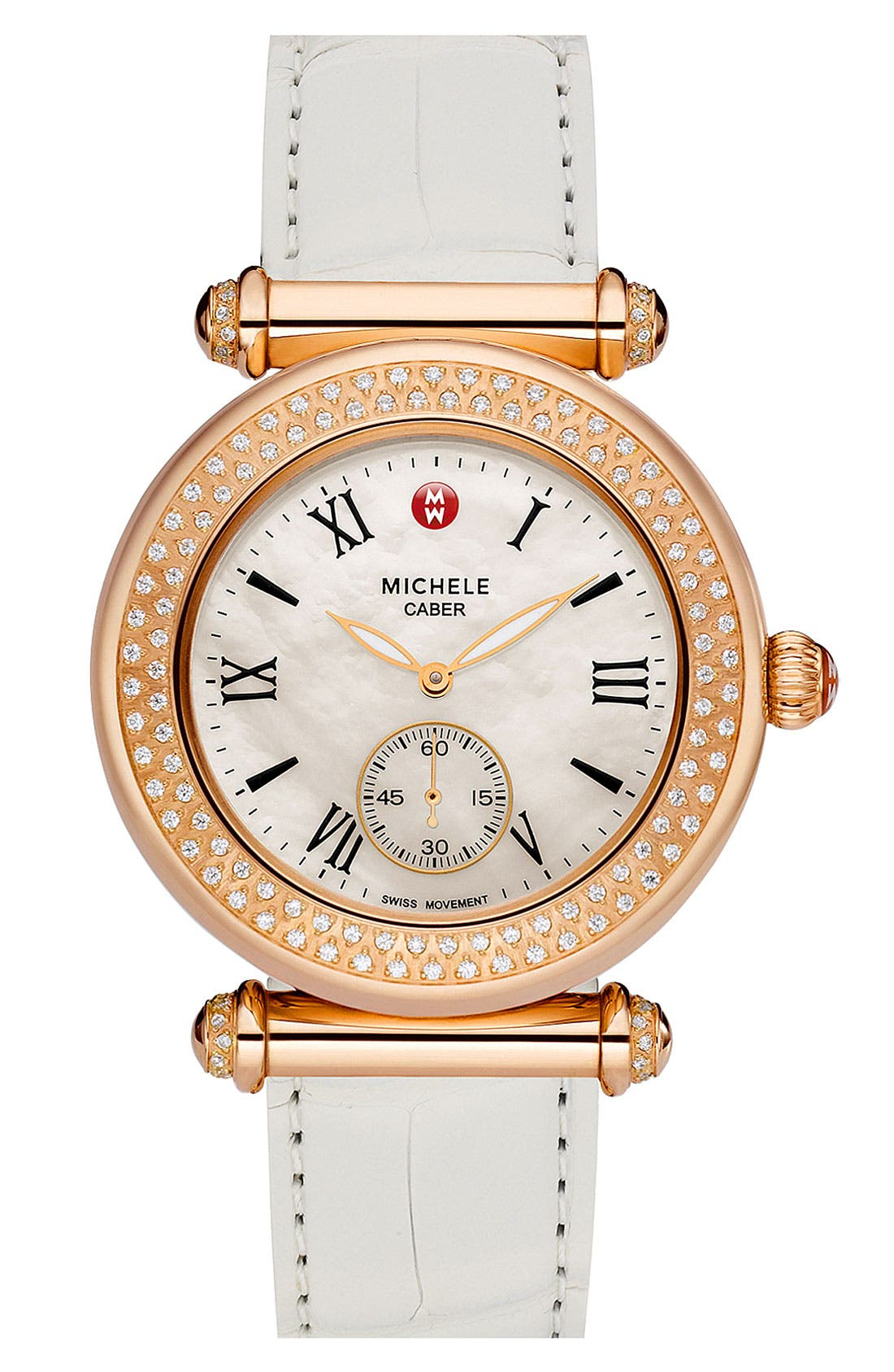 Alternate Image 3  - MICHELE 'Caber' Diamond Rose Gold Watch Case, 38mm