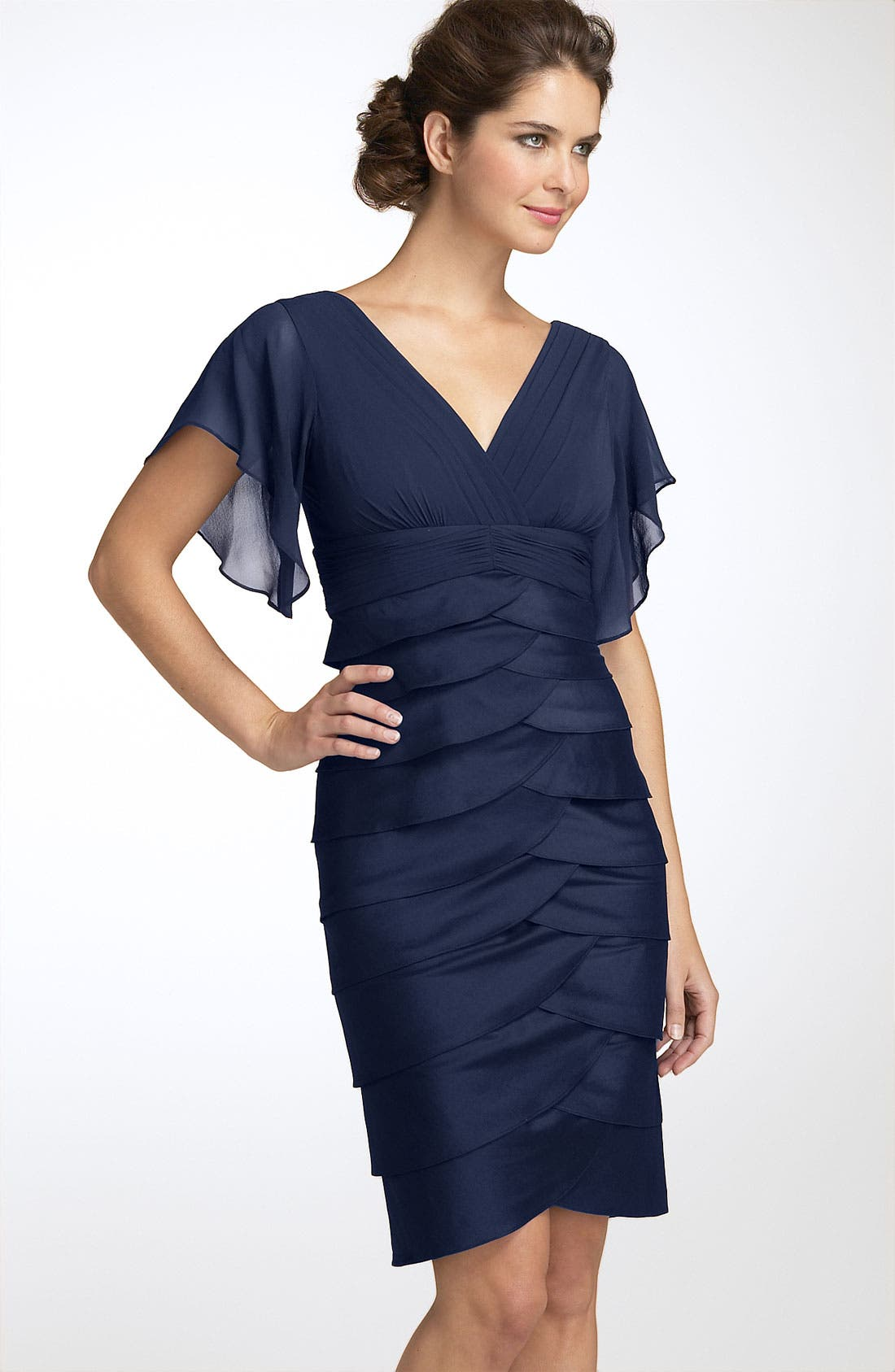 Alternate Image 1 Selected - Adrianna Papell Flutter Sleeve Tiered Dress (Petite)