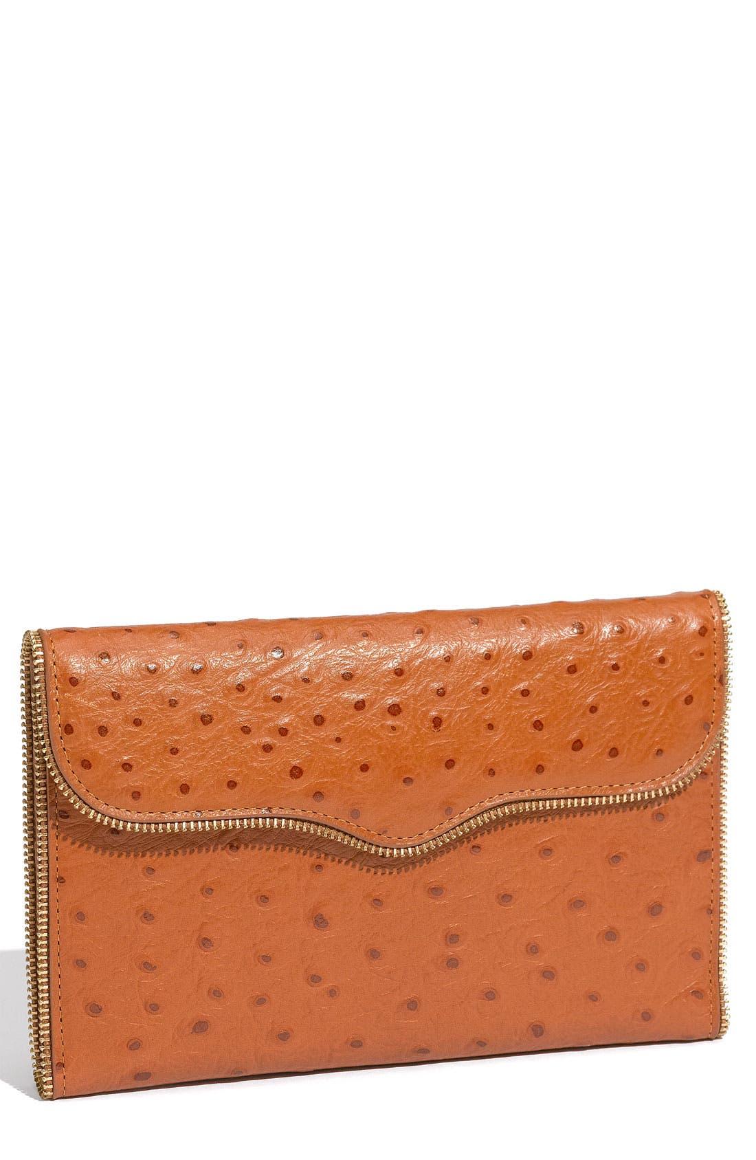 Alternate Image 1 Selected - Rebecca Minkoff 'Passport' Ostrich Embossed Flap Wallet